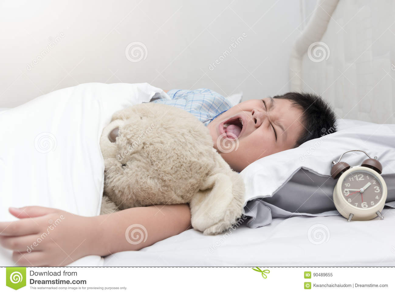 Obese fat boy yawn and sleep in morning