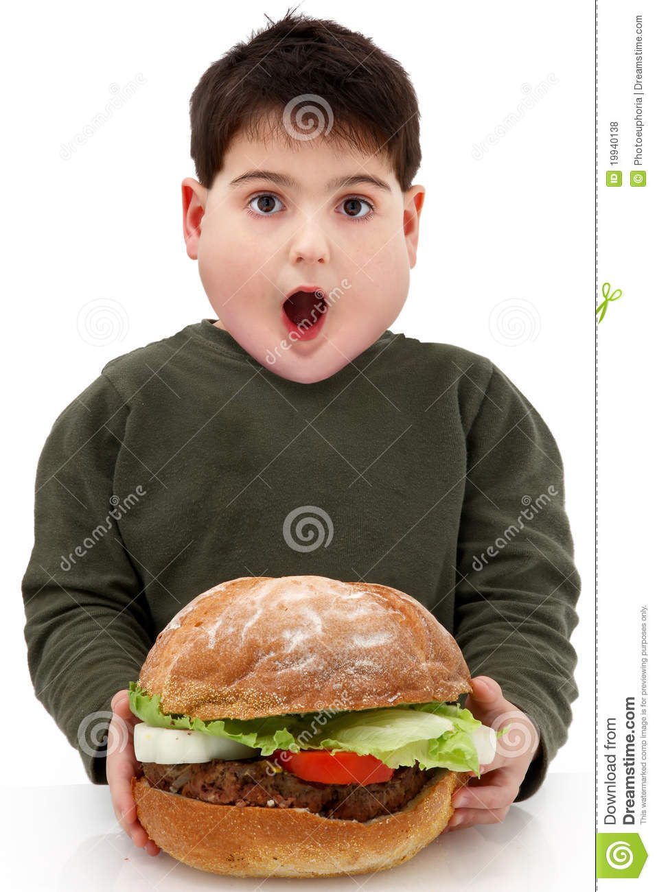 Obese Hungry Boy with Giant Burger