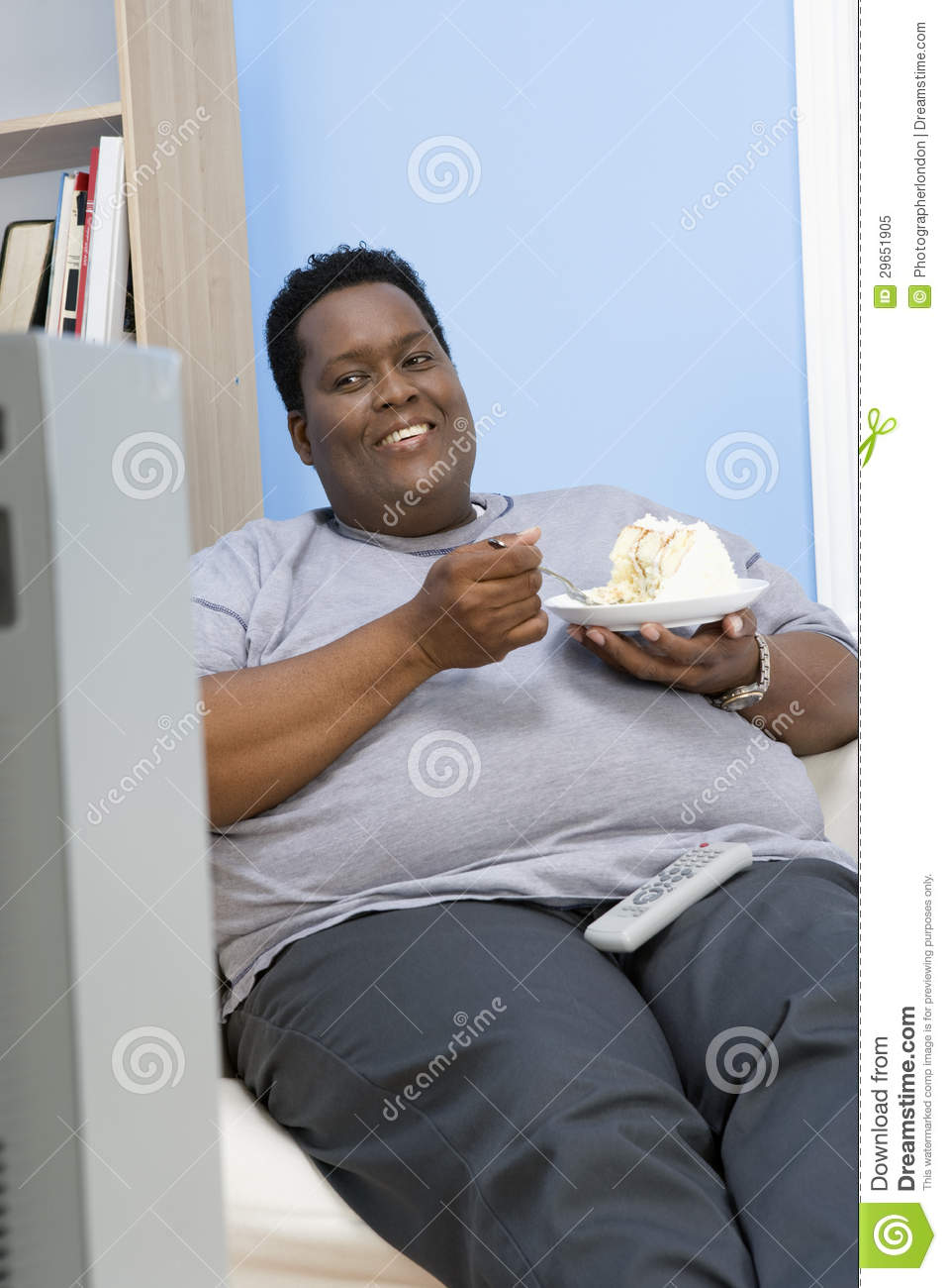 Obese Man Eating Pastry Royalty Free Stock Photo Image