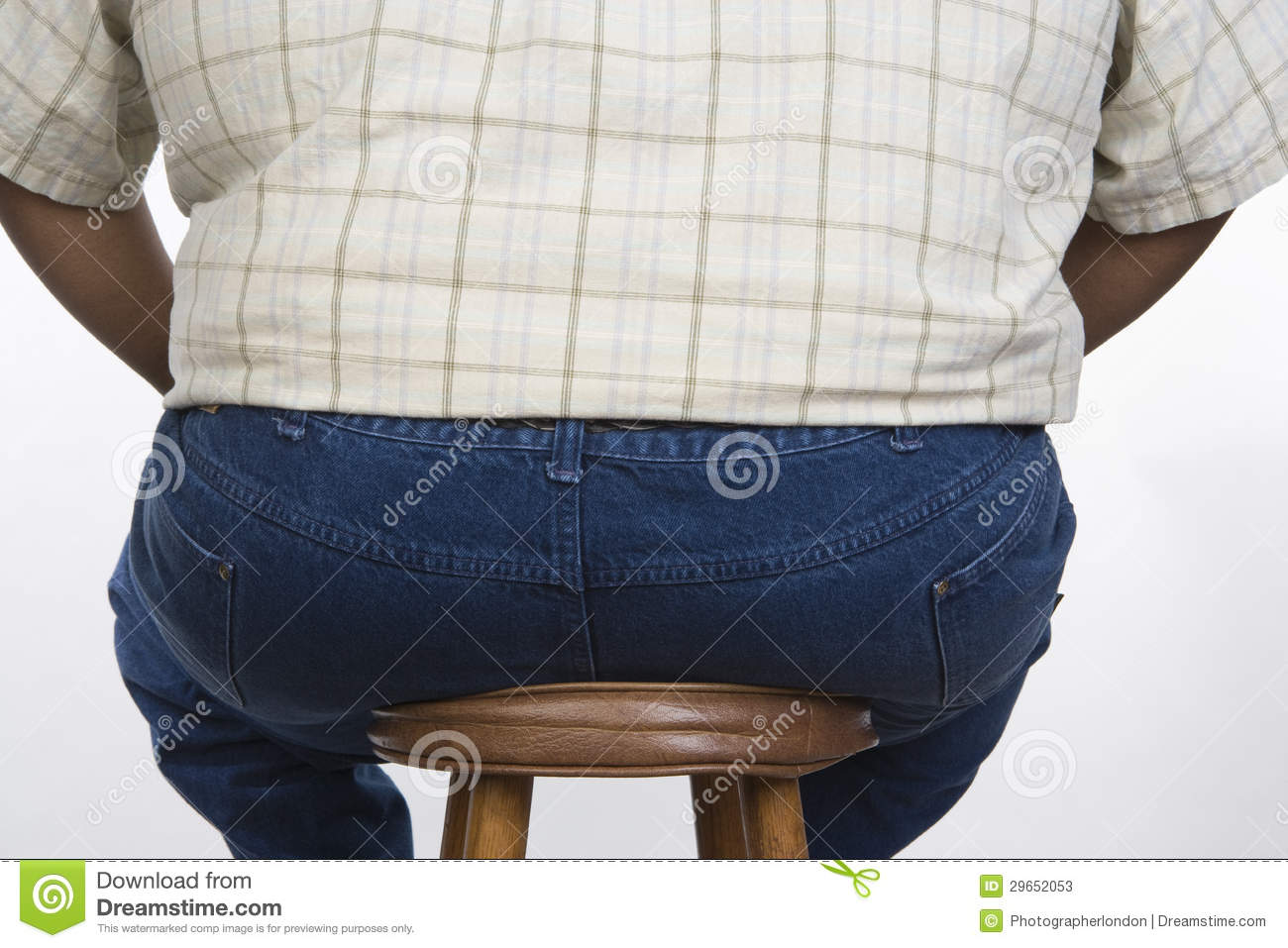 An Obese Man Sitting On A Stool Stock Image Image Of