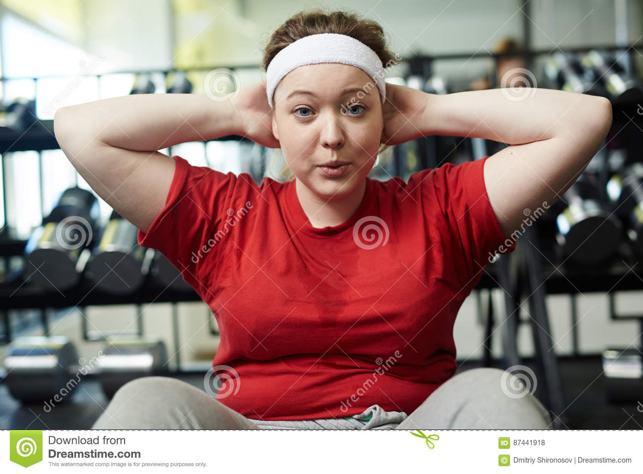Obese Woman Sweating In Gym To Lose Weight Stock Photo Image Of Loss Sport 87441918