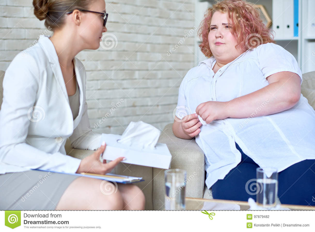 Obese Young Woman Discussing Eating Disorder with Psychiatrist