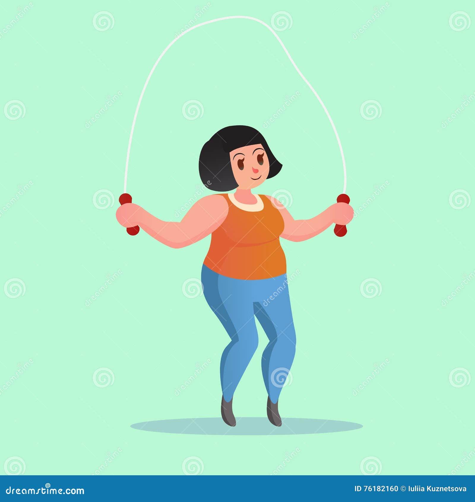 Obese Young Woman Jump Rope Workout Funny Cartoon Illustration Stock on woman jump, huge jump, group jump, funny jump, beach jump, cheerleader jump, fun jump, car jump,