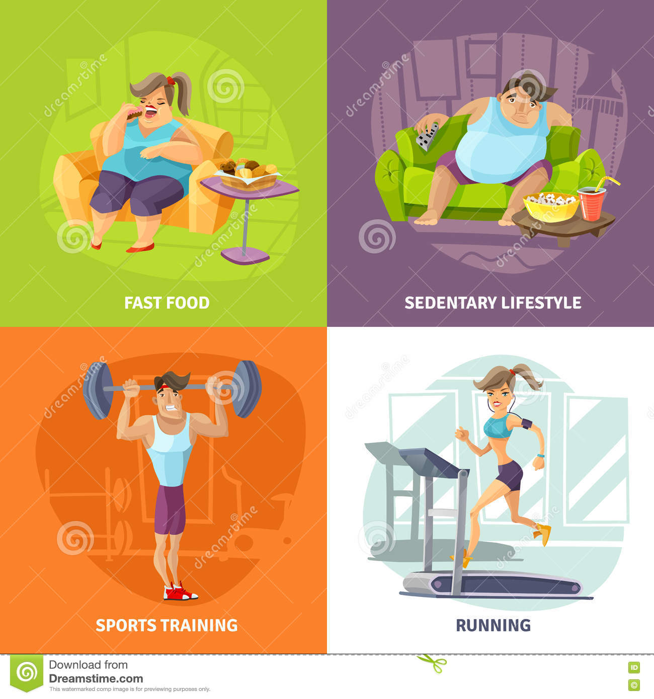 Sedentary Lifestyle: Obesity And Health Concept Icons Set Stock Vector
