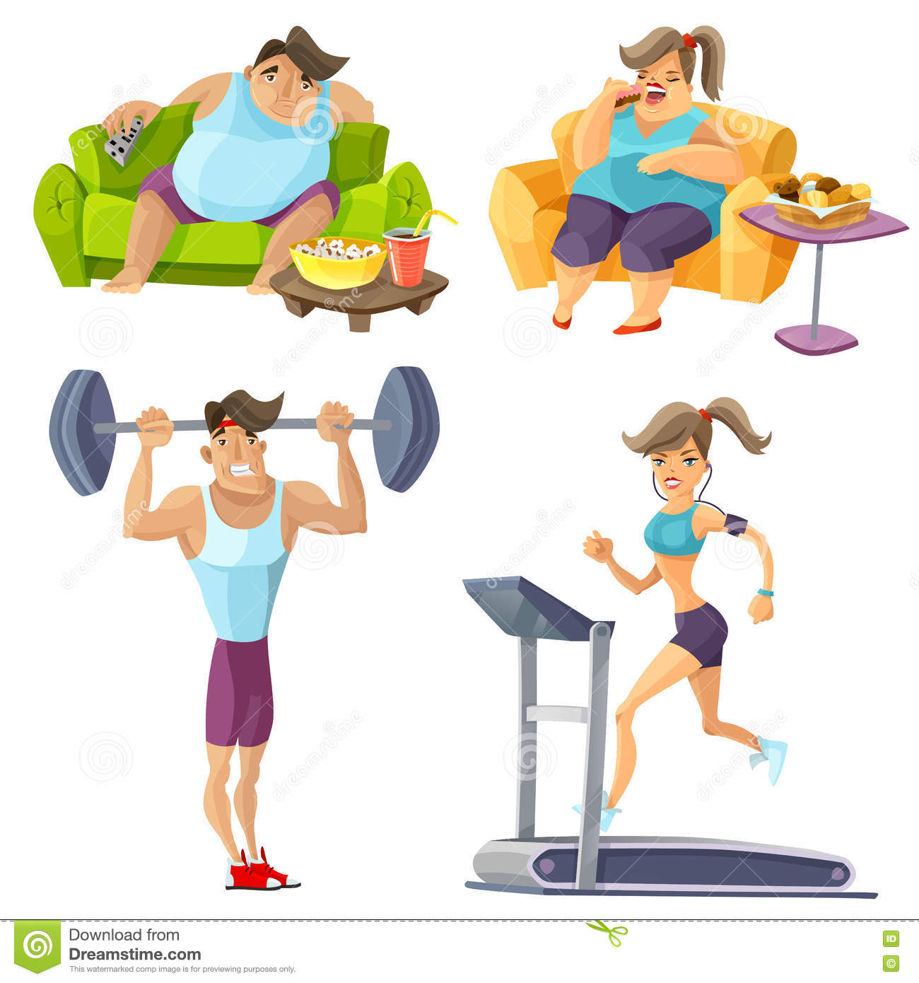 Obesity And Health Set Stock Vector Illustration Of