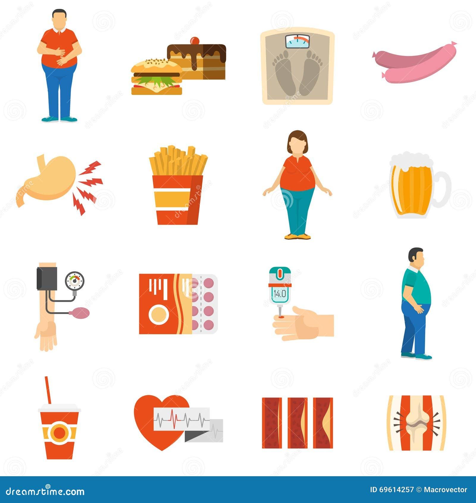 obesity icons collection cartoon vector cartoondealer