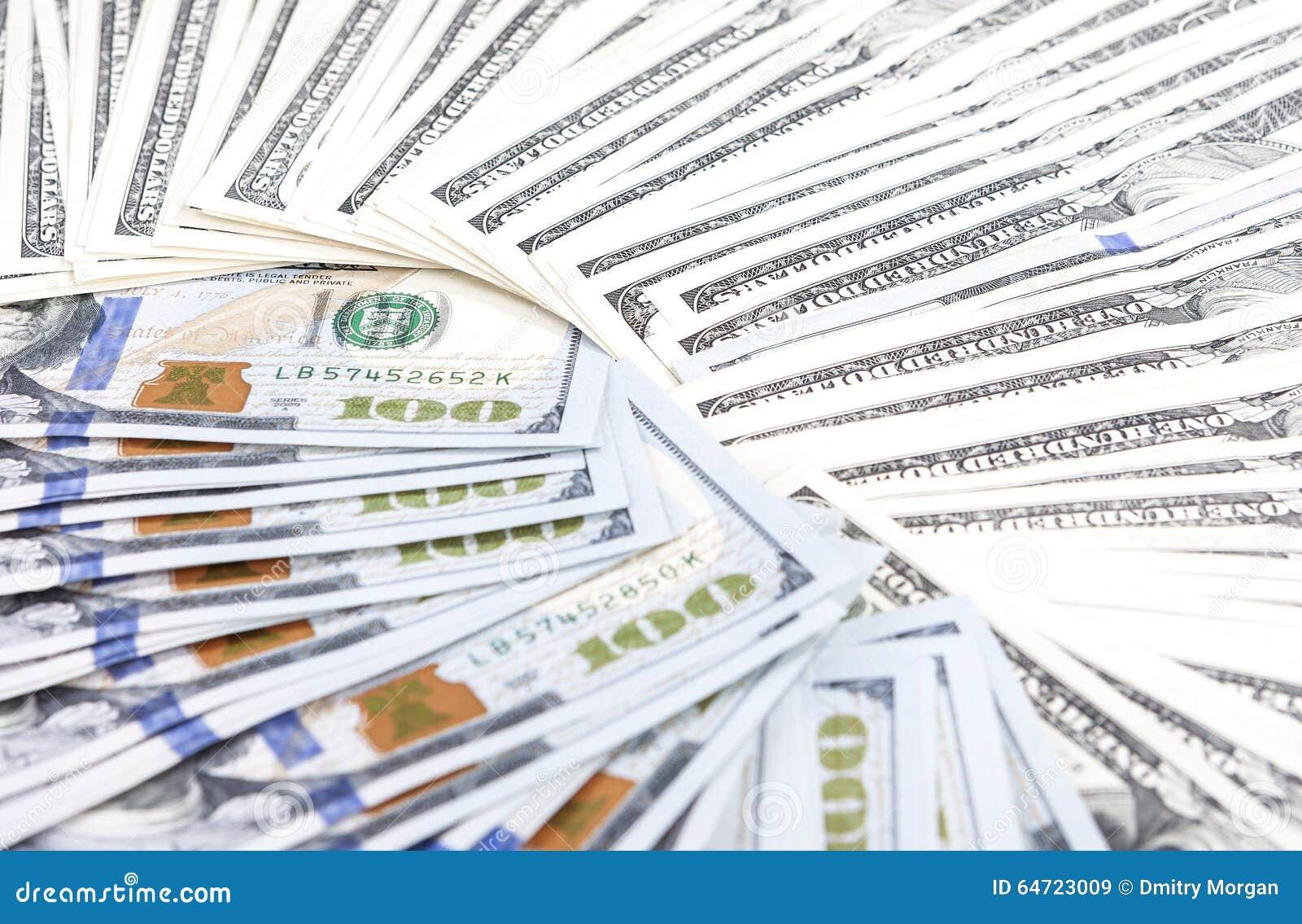 Obfitość dolarów banknotów Ustawiona masa