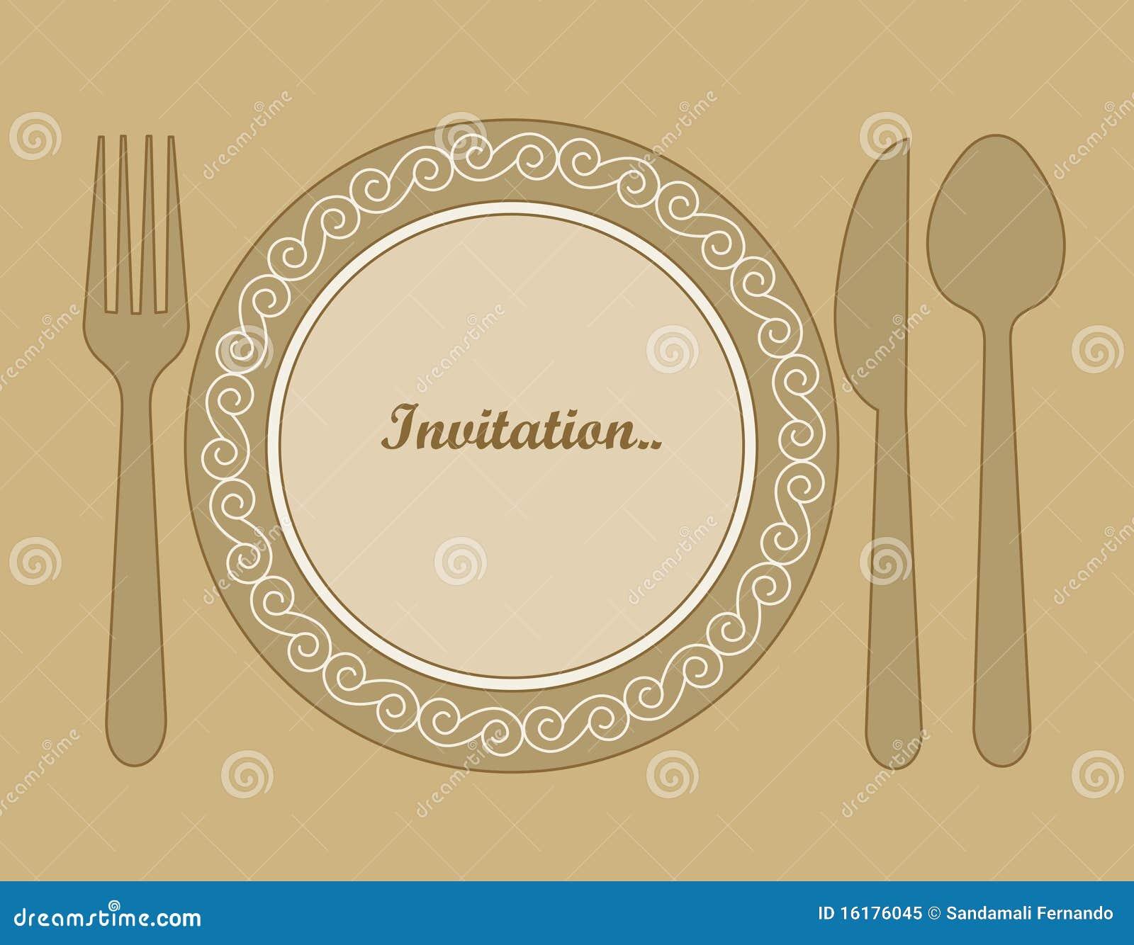 Obiadowy Zaproszenie Ilustracja Wektor Ilustracja Złożonej