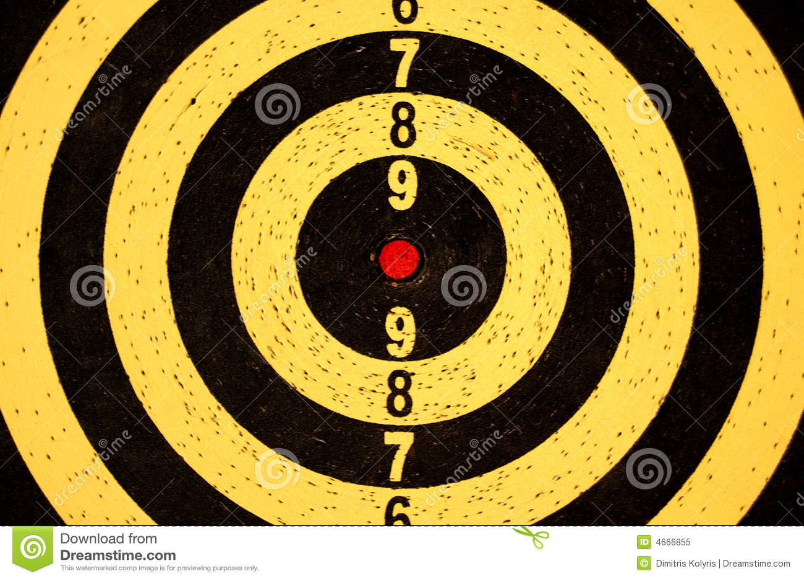 Obiettivo del Dartboard con i numeri