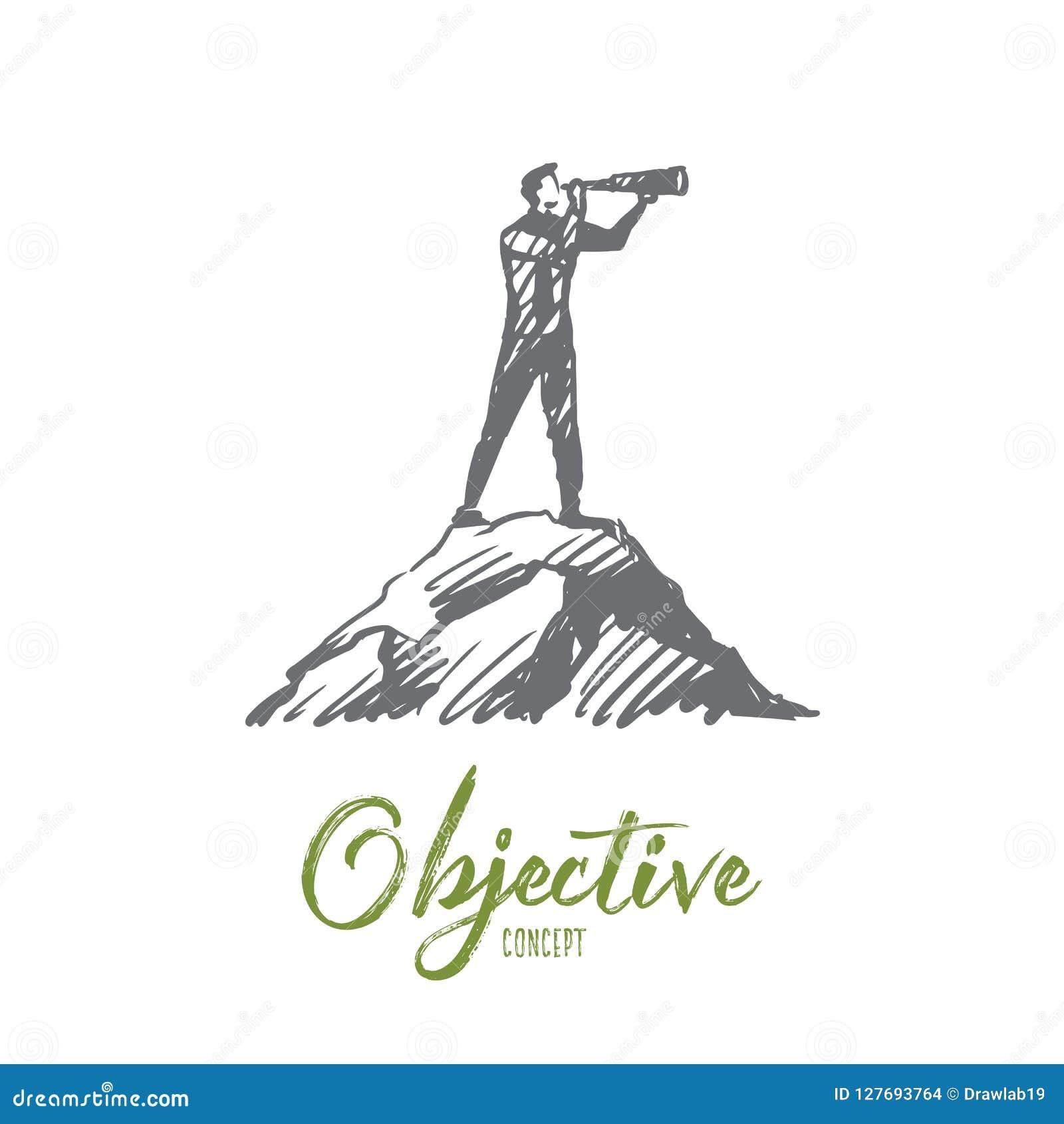 Obiettivo, obiettivo, strategia, futuro, concetto di successo Vettore isolato disegnato a mano
