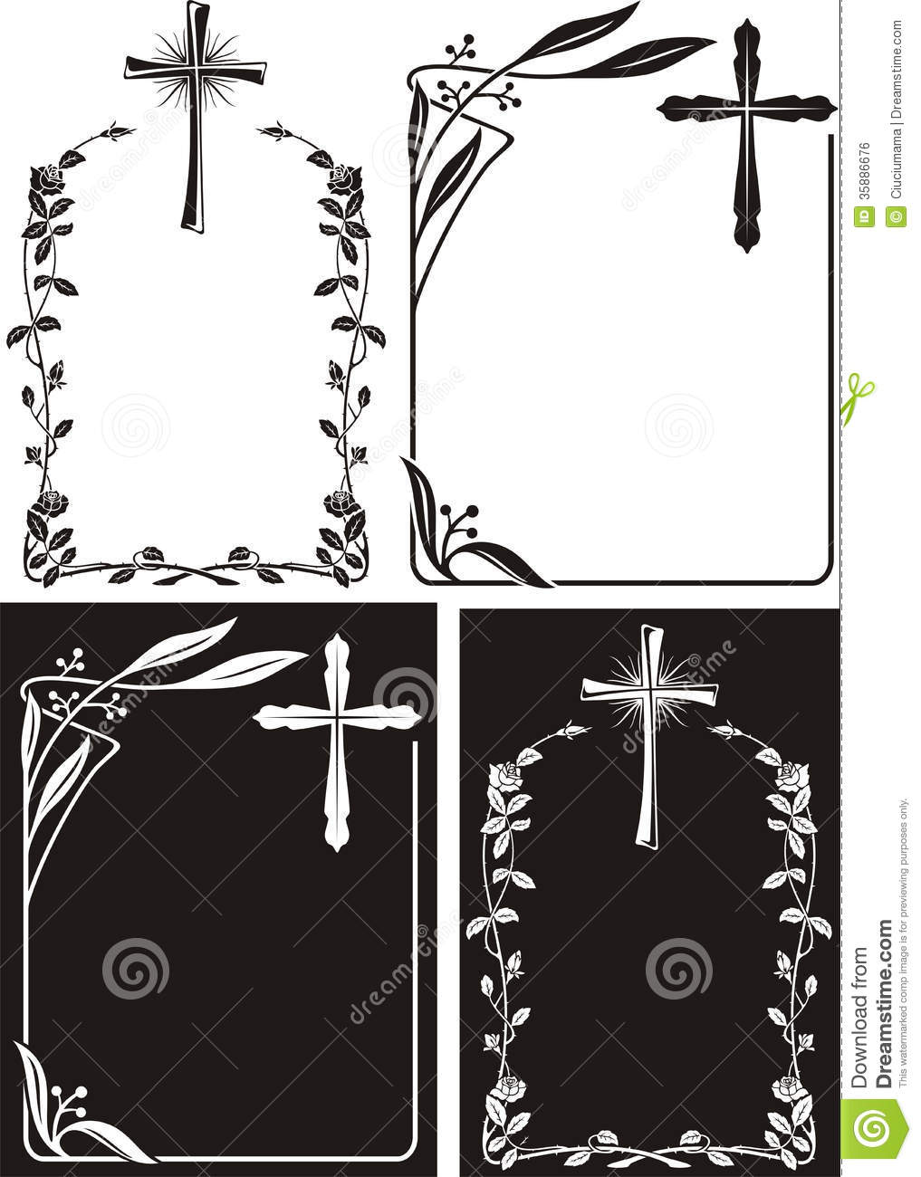 Obituary - Art Deco Frames With Cross Stock Vector - Illustration of ...