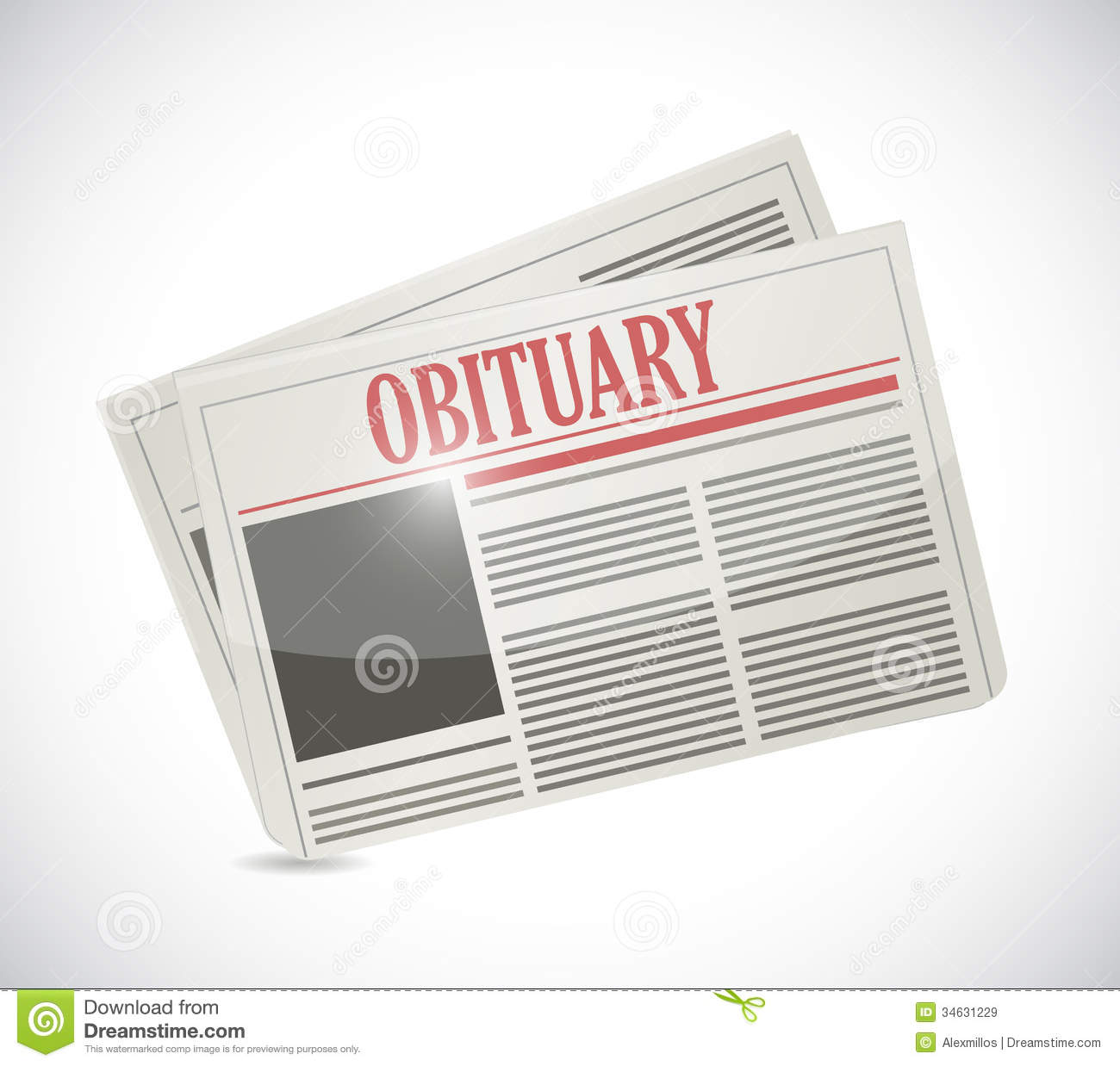 Obituary newspaper section illustration design royalty for News section design