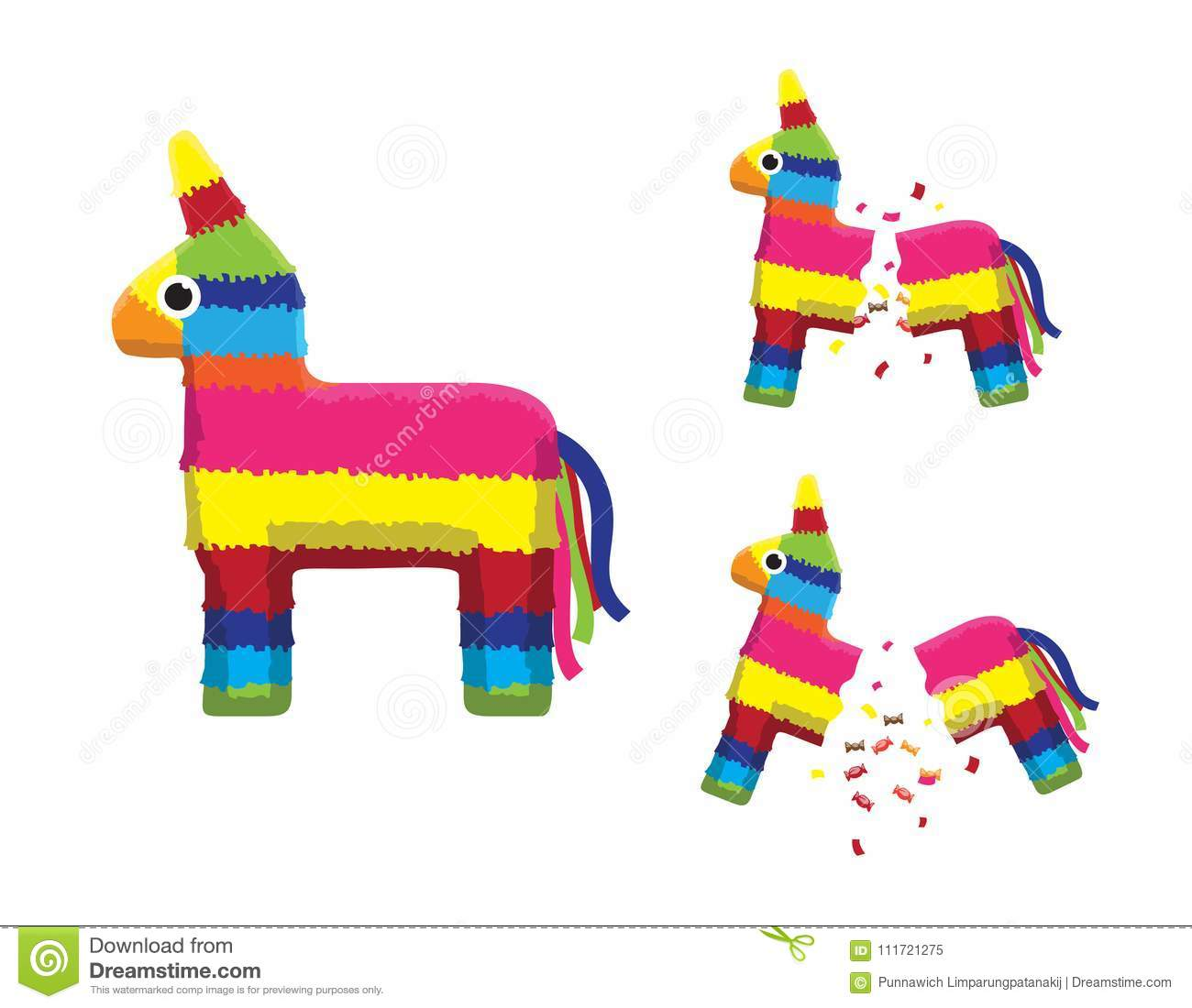 Pink Pinata Horse Breaking Animation Sequence Cartoon Vector