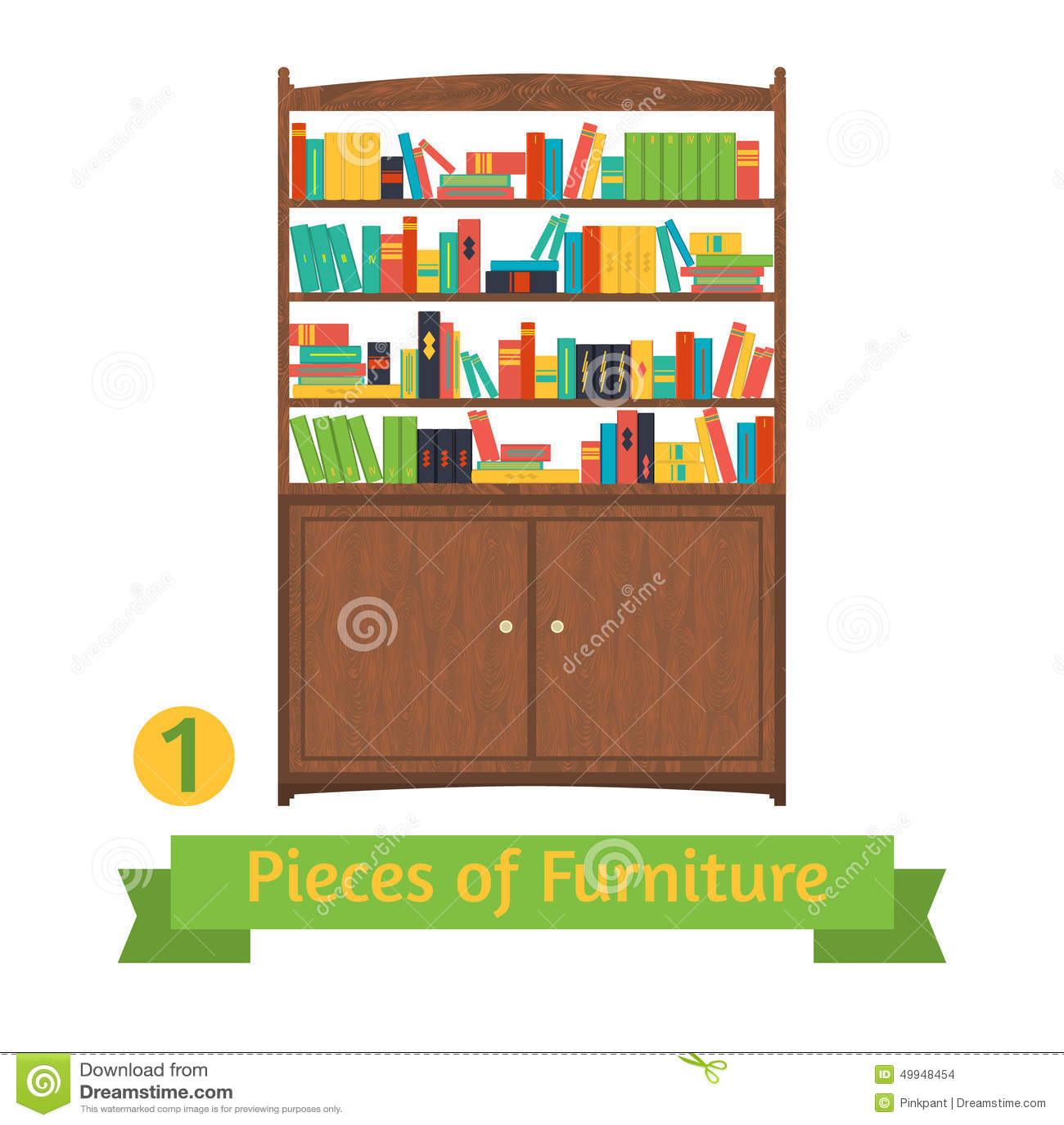 Object Retro Bookcase Flat Design