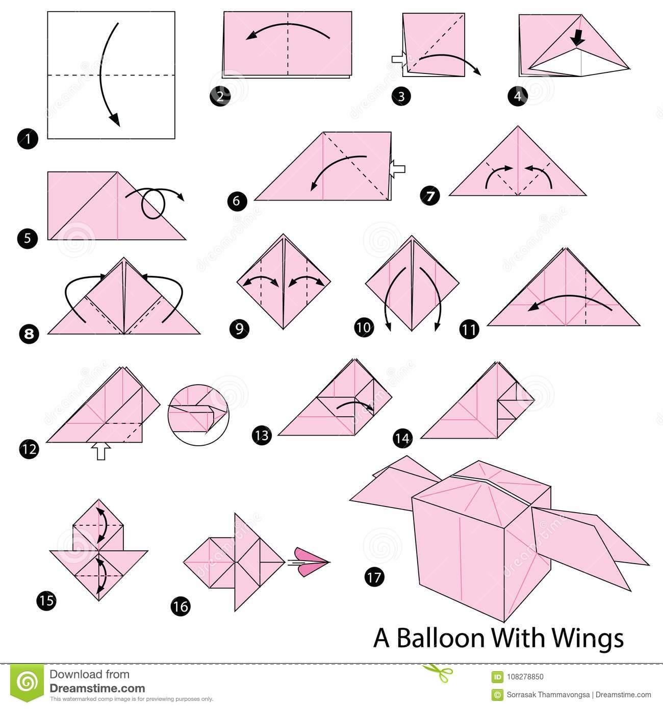 Step By Instructions How To Make Origami A Balloon With Wings