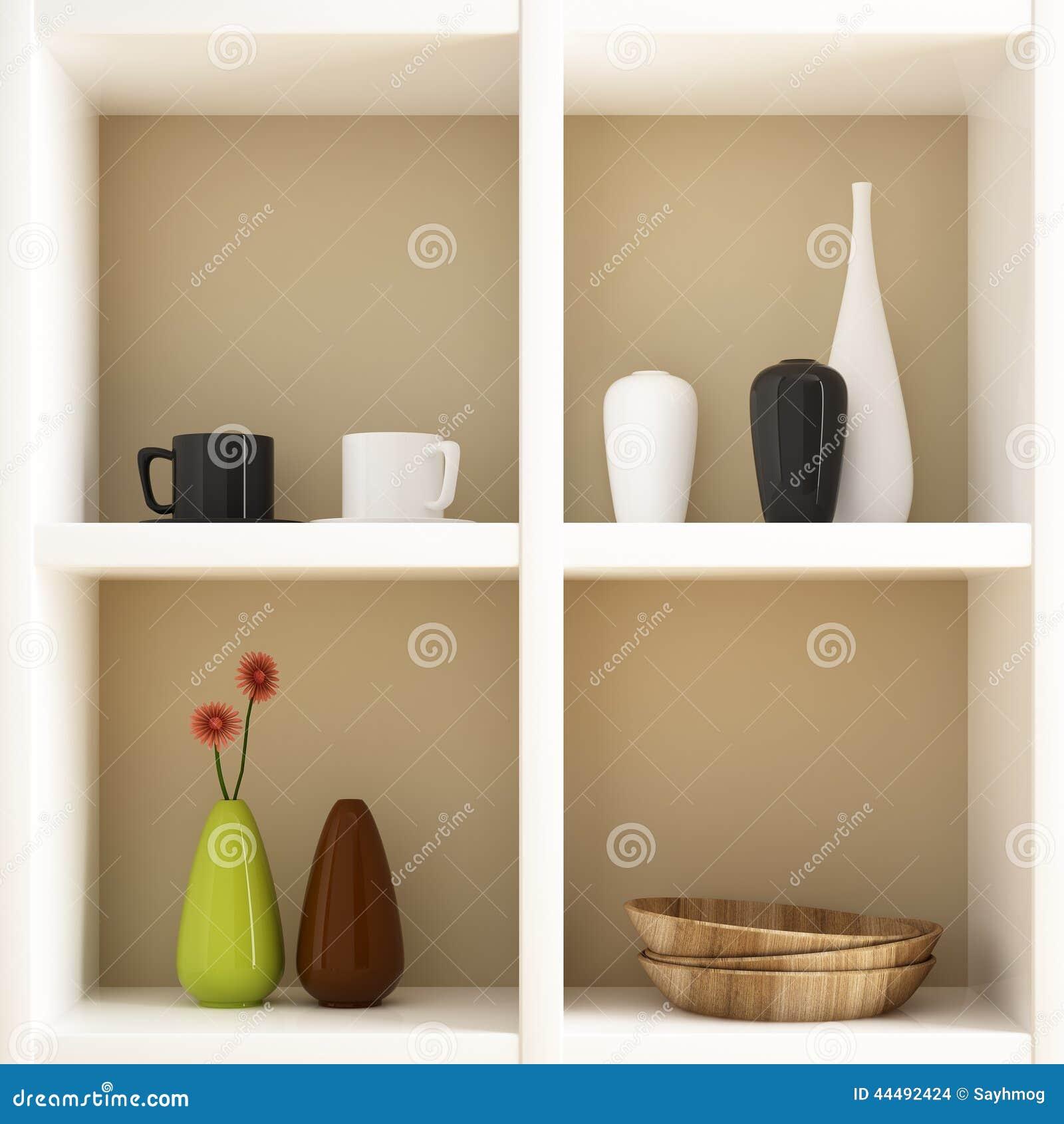Object on white shelf