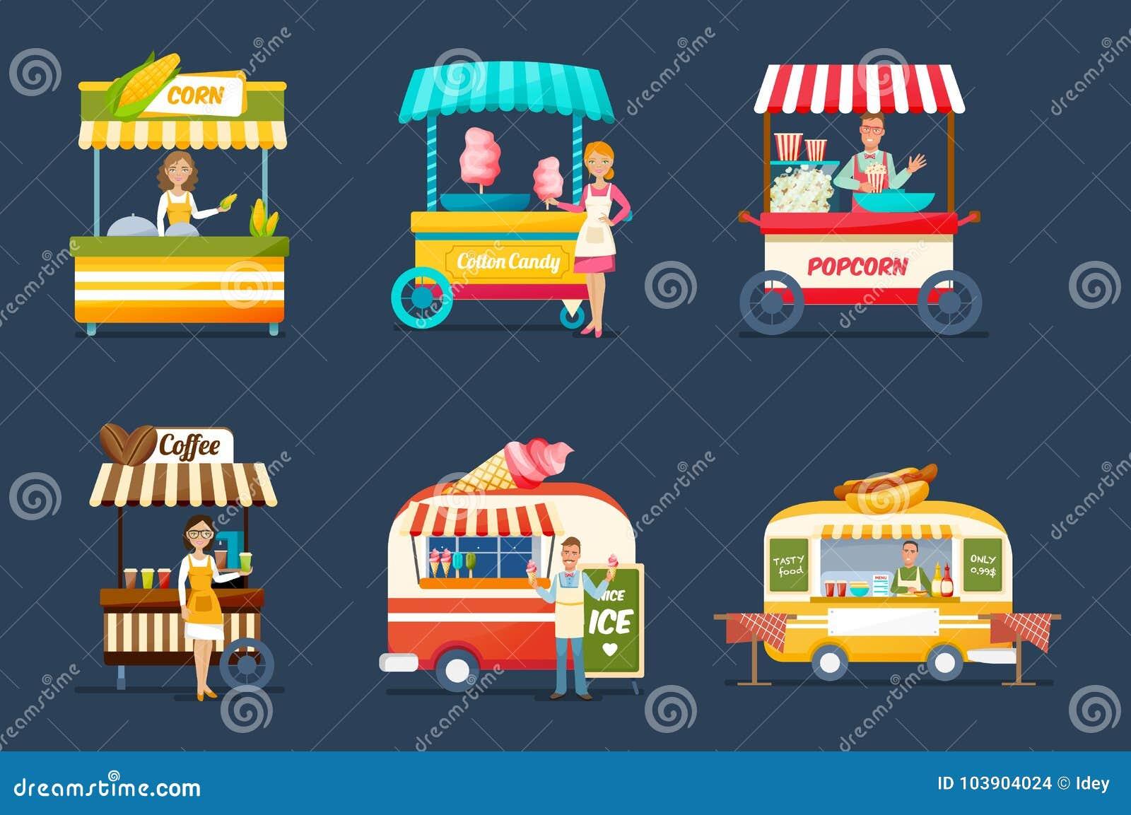 Objecte la vente ambulante Vendeurs derrière des compteurs avec des boissons, nourriture, bonbons