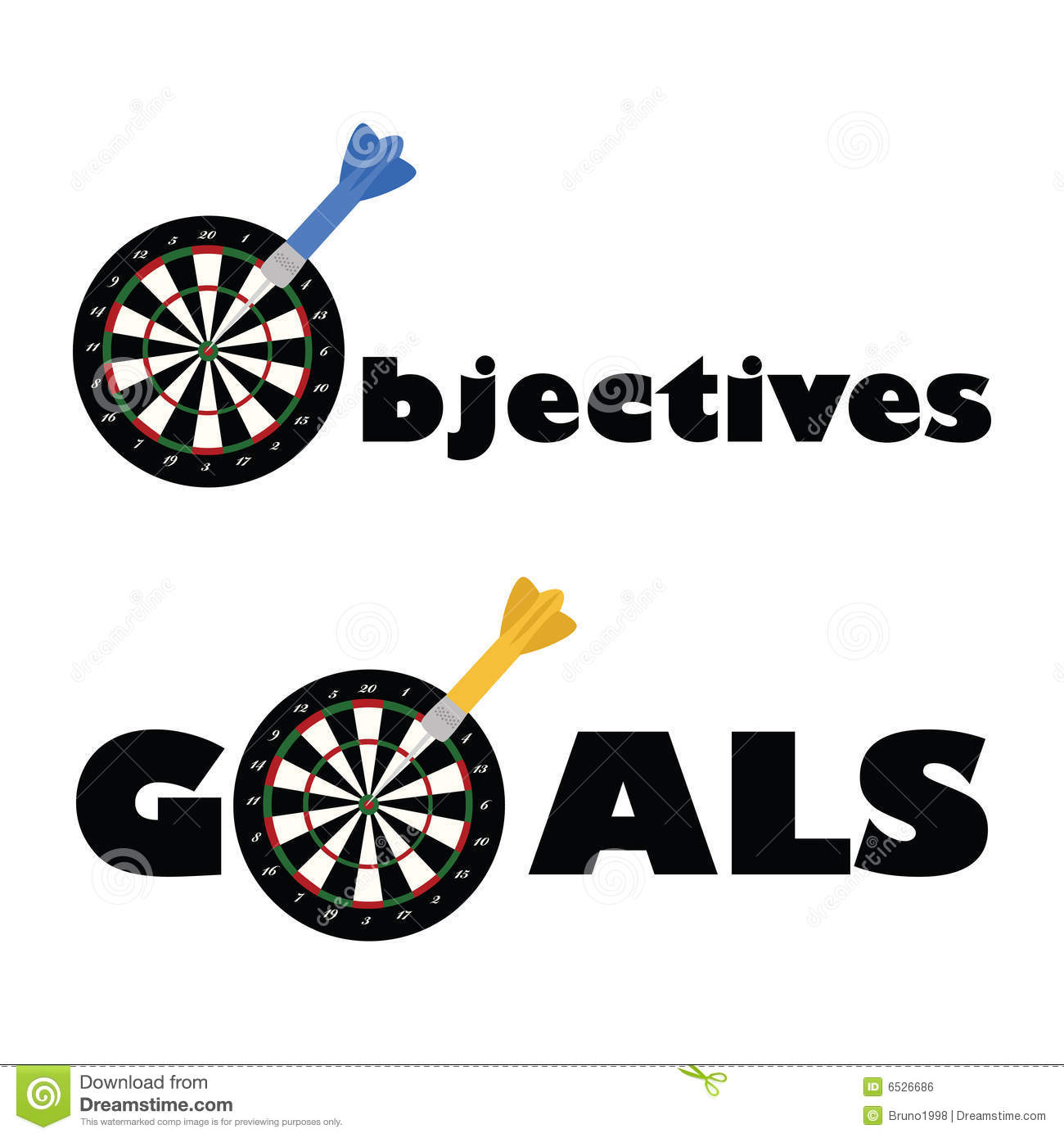 ... dartboard and a dart as part of the words objectives and goals