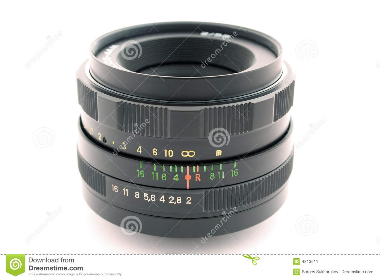 Objective of a photo camera. Isolated 2