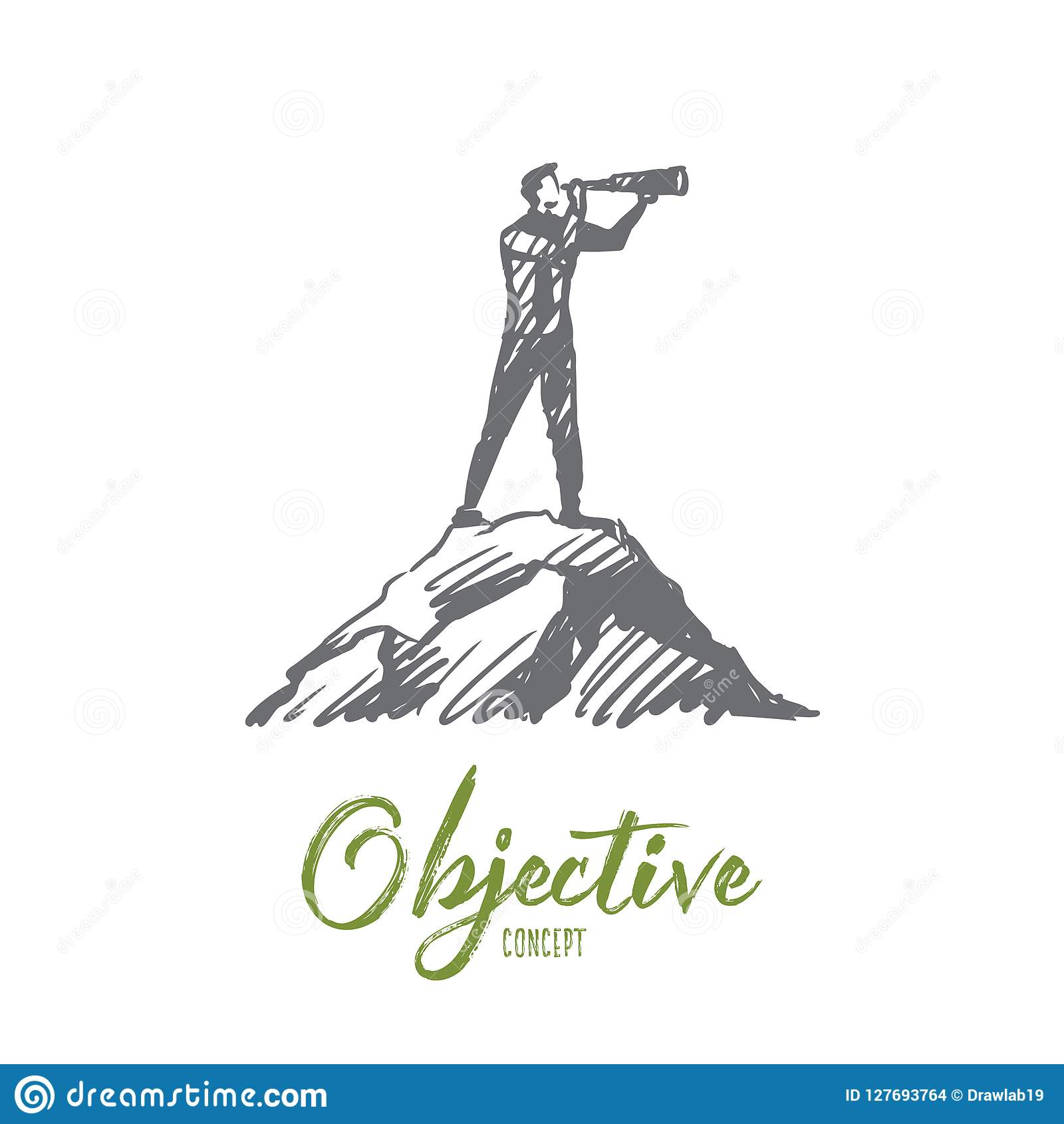 Objective target strategy future success concept hand drawn man looking forward with spyglass concept sketch isolated vector illustration