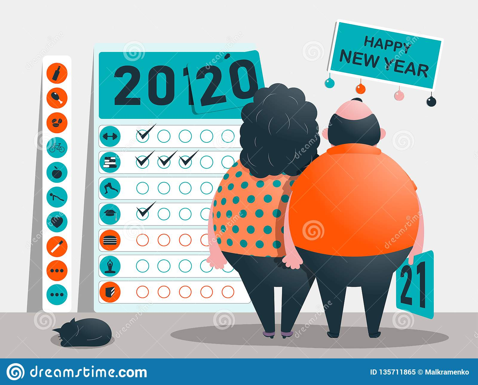 The objectives, plan and goals for the years 2020 - 2021. Calendar of useful and bad habits and addictions. Funny fat characters.