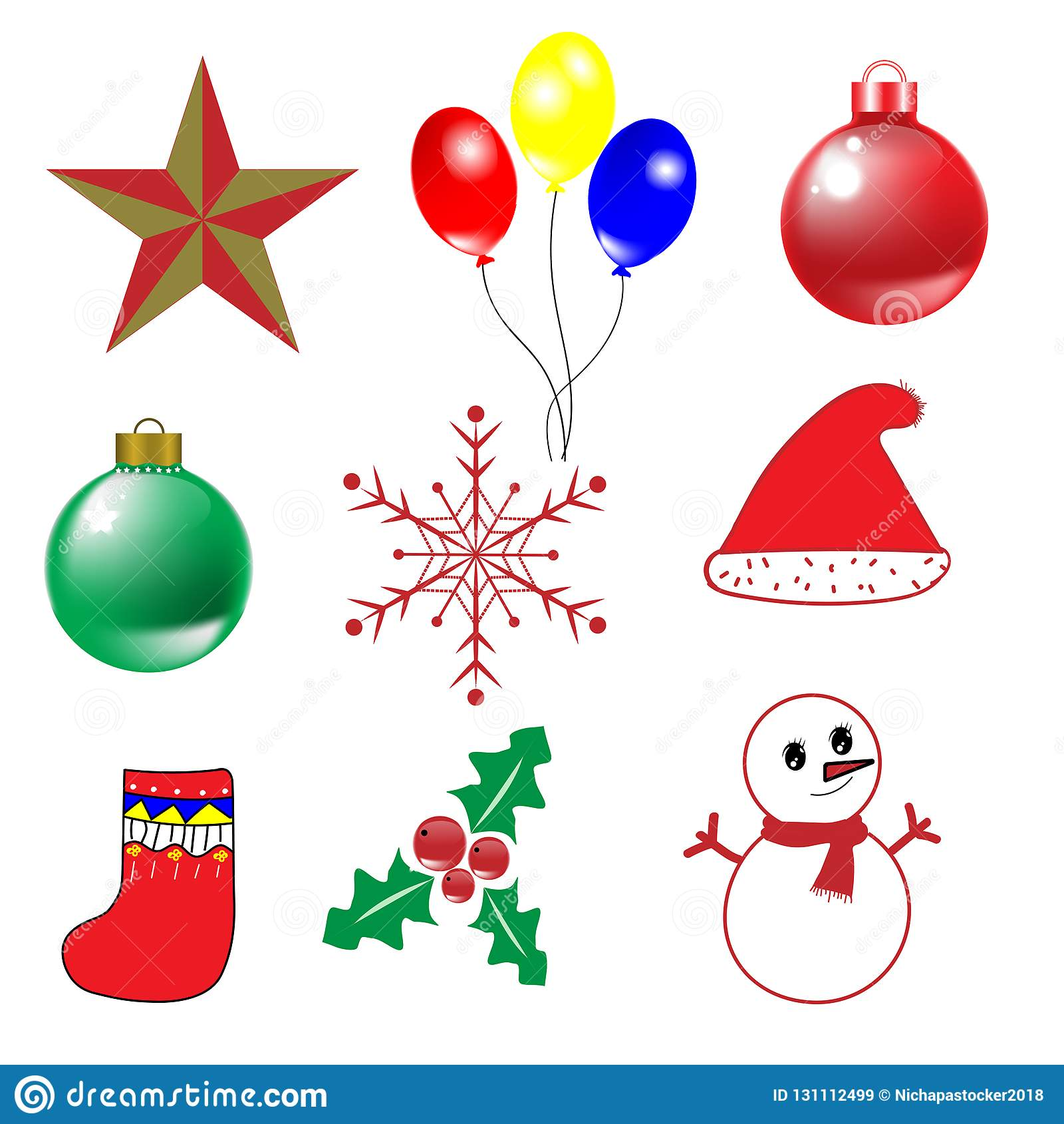 9 objects for Christmas and happy new year vector