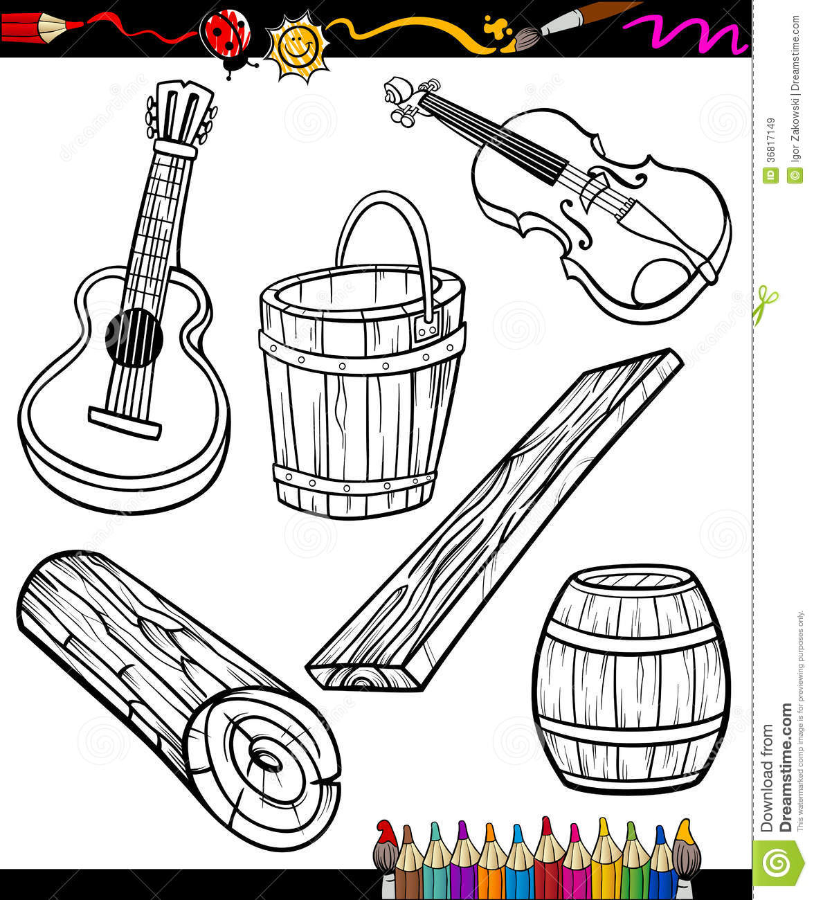 Objects Oartoon Set For Coloring Book Stock Vector