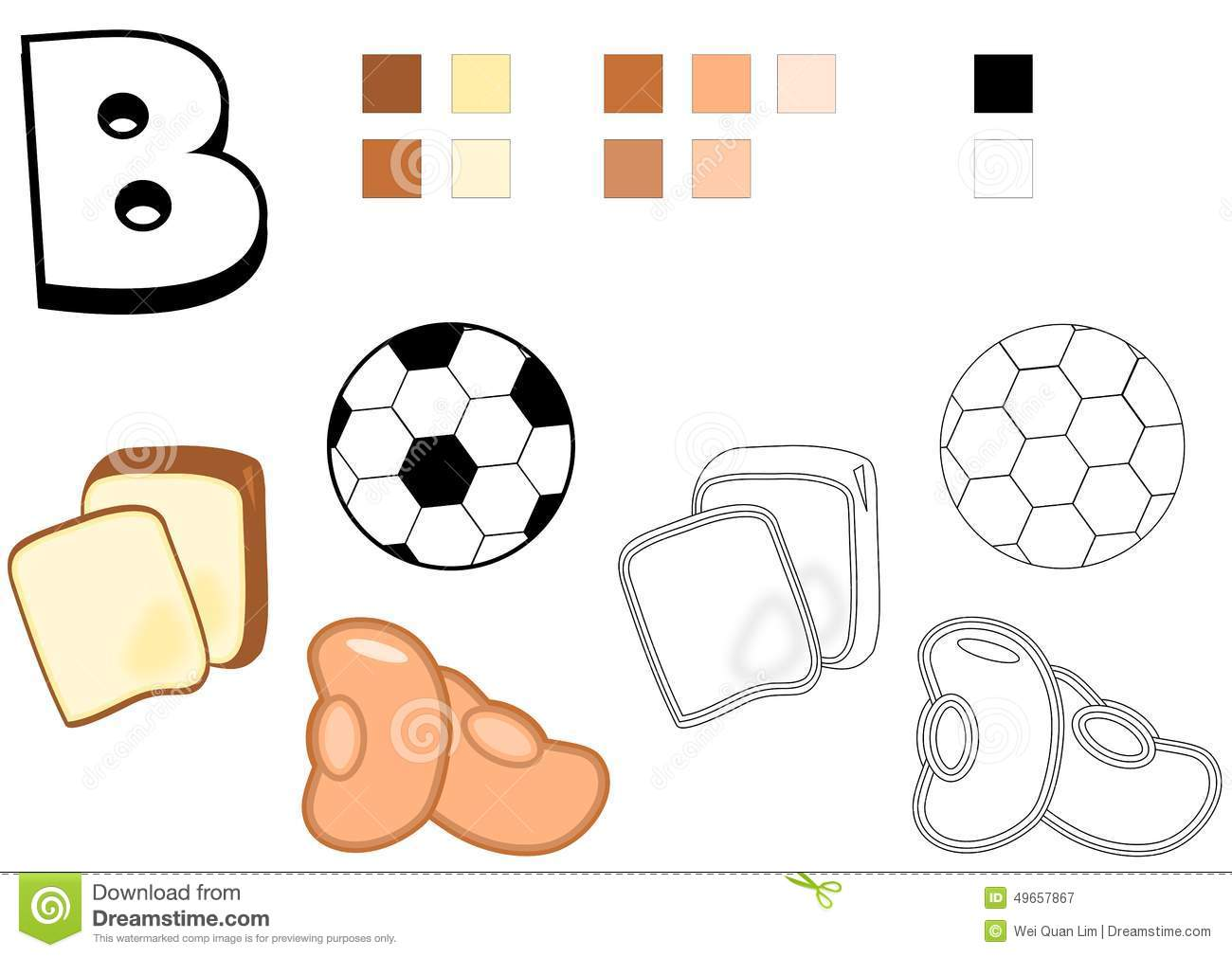 Teaching material and drawing template for children. Objects spelled ...