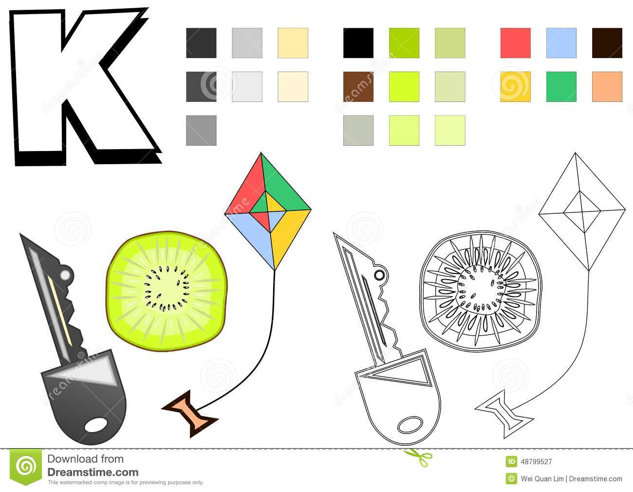 objects spelled with letter k drawing template for children