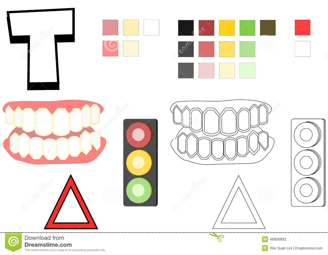objects spelled with letter t drawing template for children