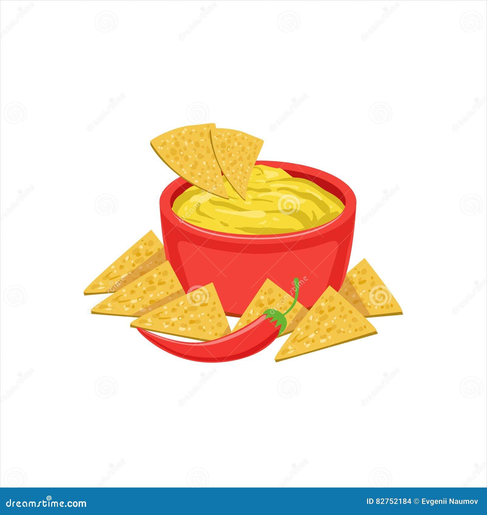 Objekt för mat för maträtt för NachosChips With Cheese Dip Traditional mexicanskt kokkonst från illustration för kafémenyvektor
