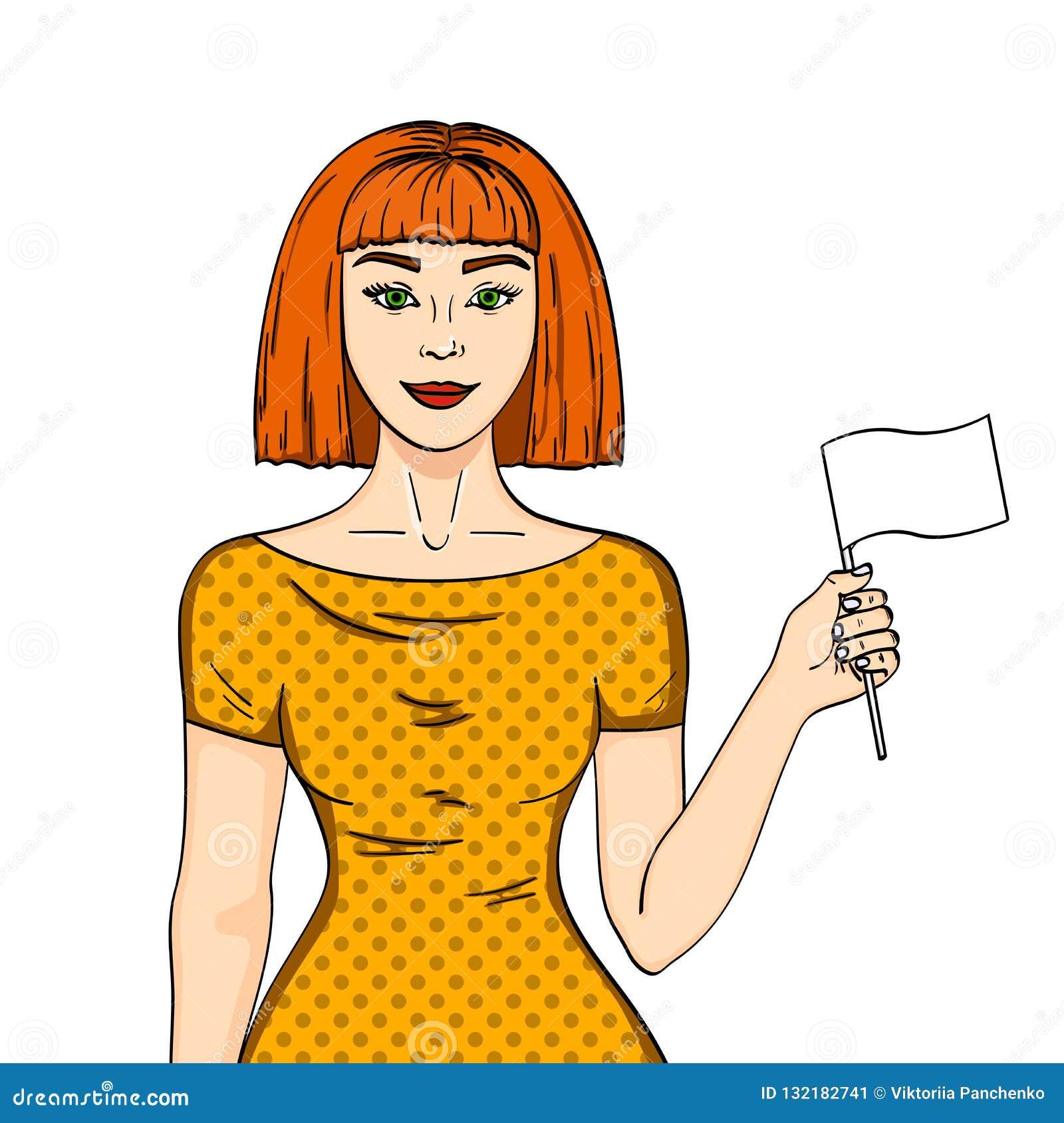 Objekt på den röda haired flickan för vit bakgrund som rymmer en vit flagga Kvinnan gav upp hennes position komisk stilefterföljd
