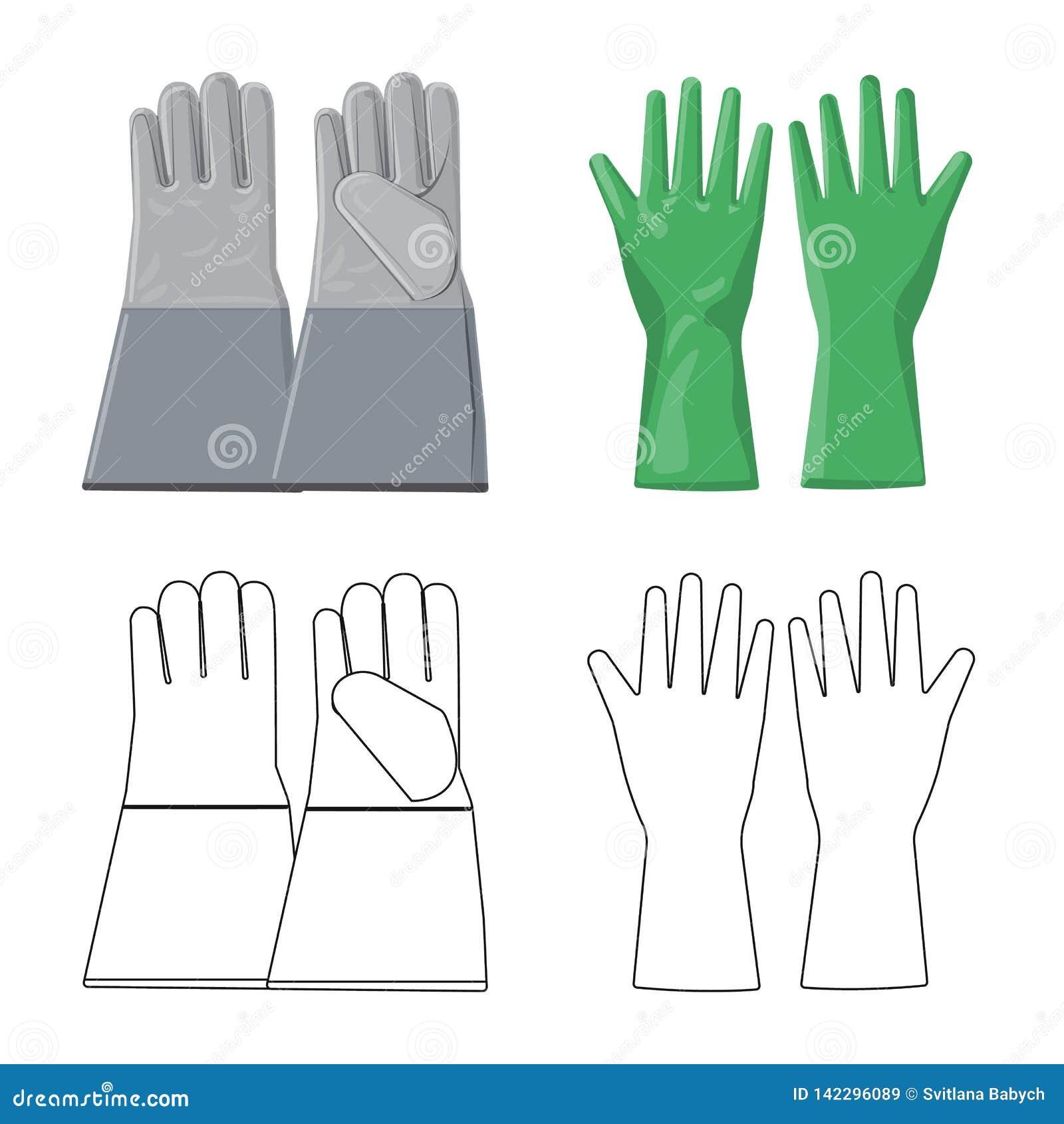 Objet d isolement de gant et de logo d hiver Collection de l illustration courante de vecteur de gant et d équipement