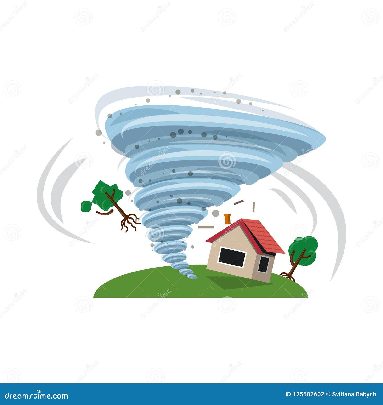 Objet d isolement de logo naturel et de catastrophe Ensemble d illustration courante naturelle et de risque de vecteur