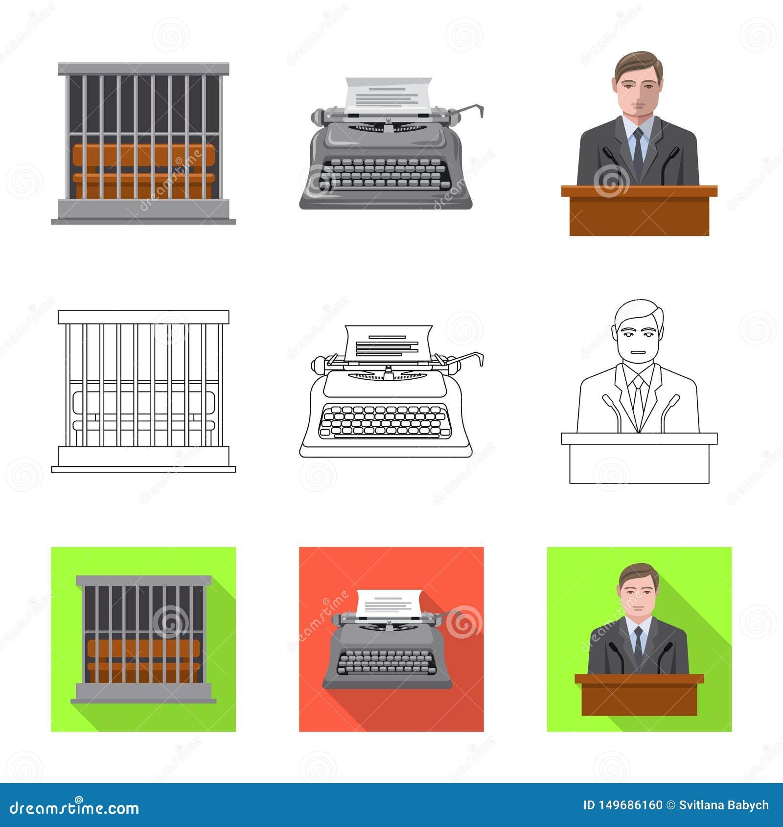 Objet d isolement de loi et de signe d avocat Collection de l illustration courante de vecteur de loi et de justice