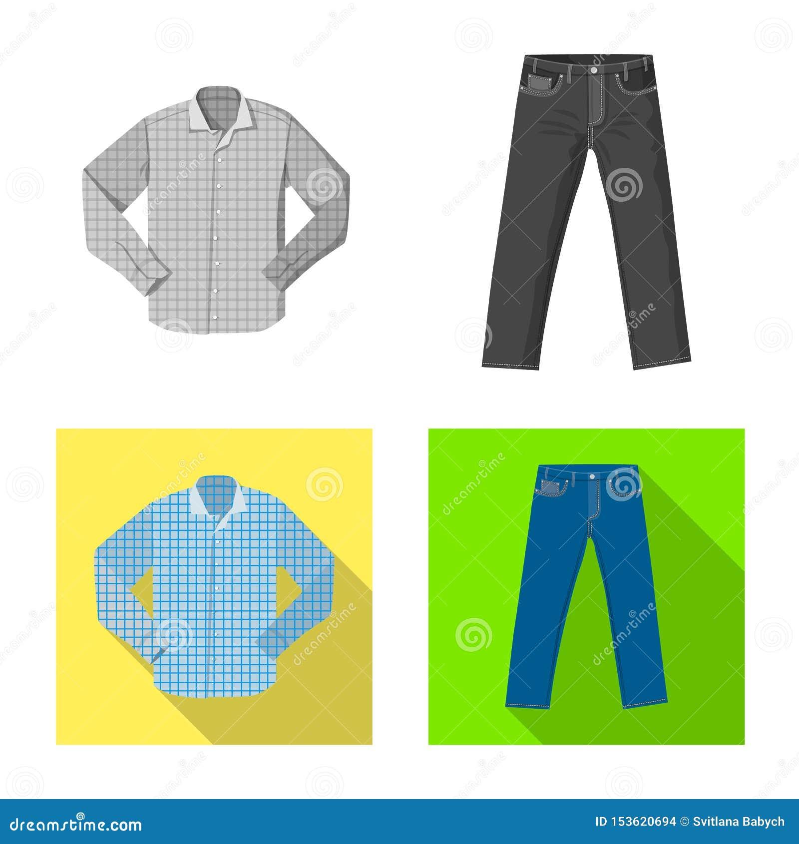 Objet d isolement de symbole de l homme et d habillement Collection de l homme et de l illustration courante de vecteur d usage