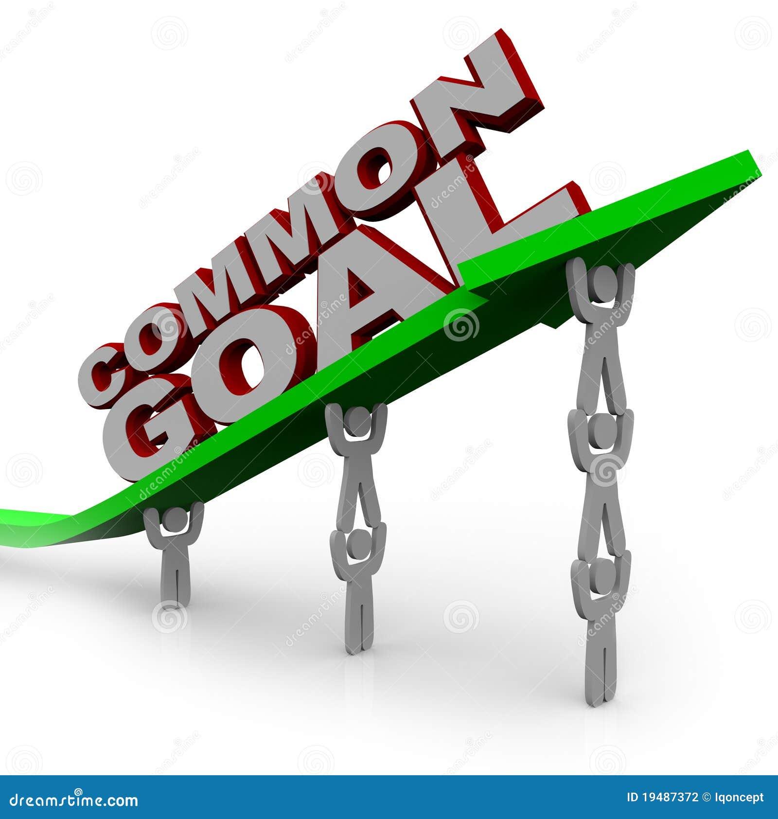 Objetivo común - las personas de la gente levantan la flecha del crecimiento