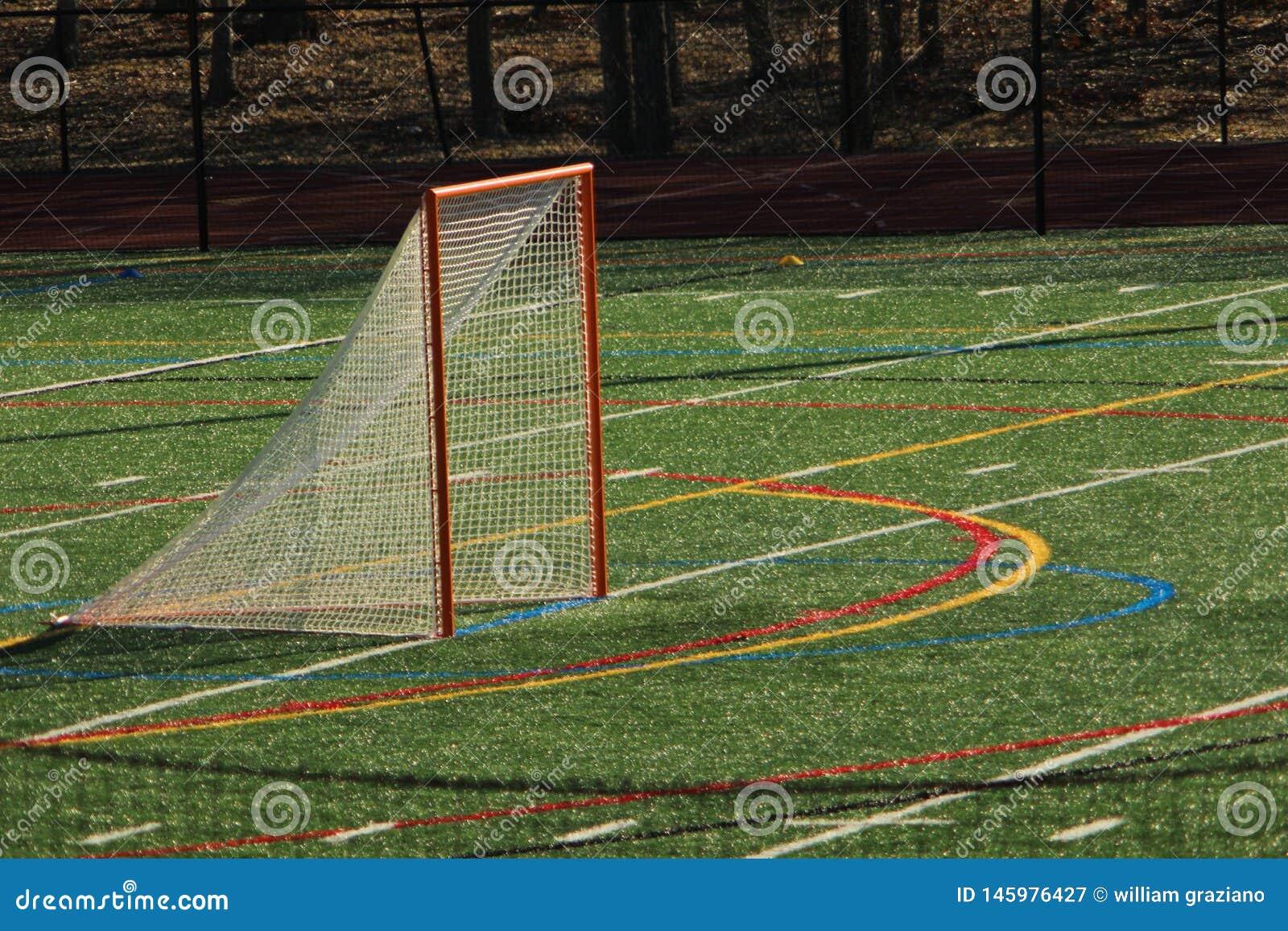 Objetivo da lacrosse em um campo do relvado