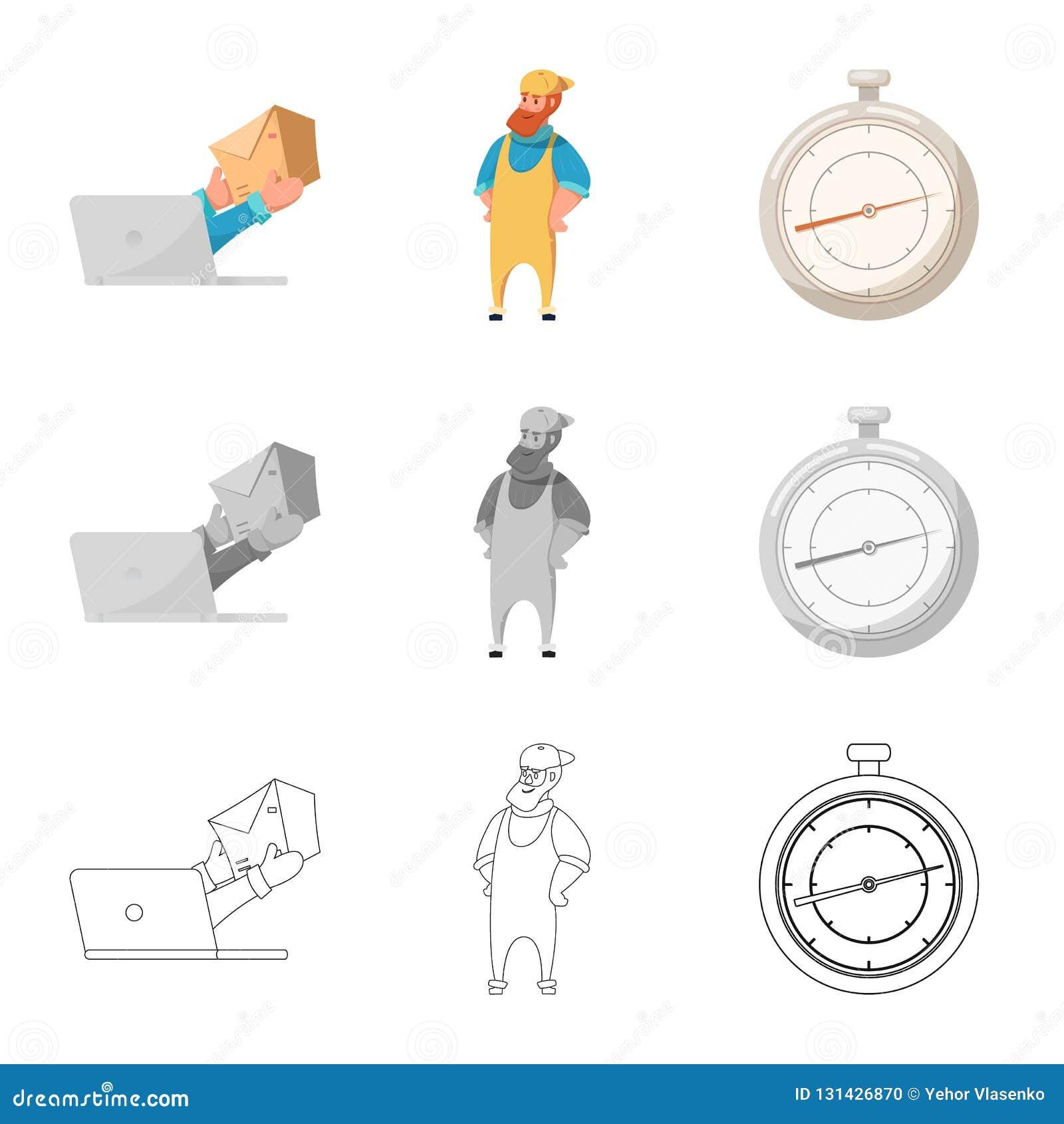 Objeto aislado de mercancías y del icono del cargo Colección de mercancías y de ejemplo común del vector del almacén