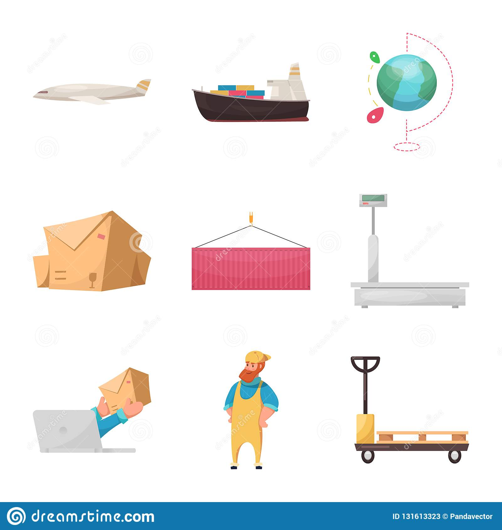 Objeto aislado de mercancías y de la muestra del cargo Colección de mercancías e icono del vector del almacén para la acción