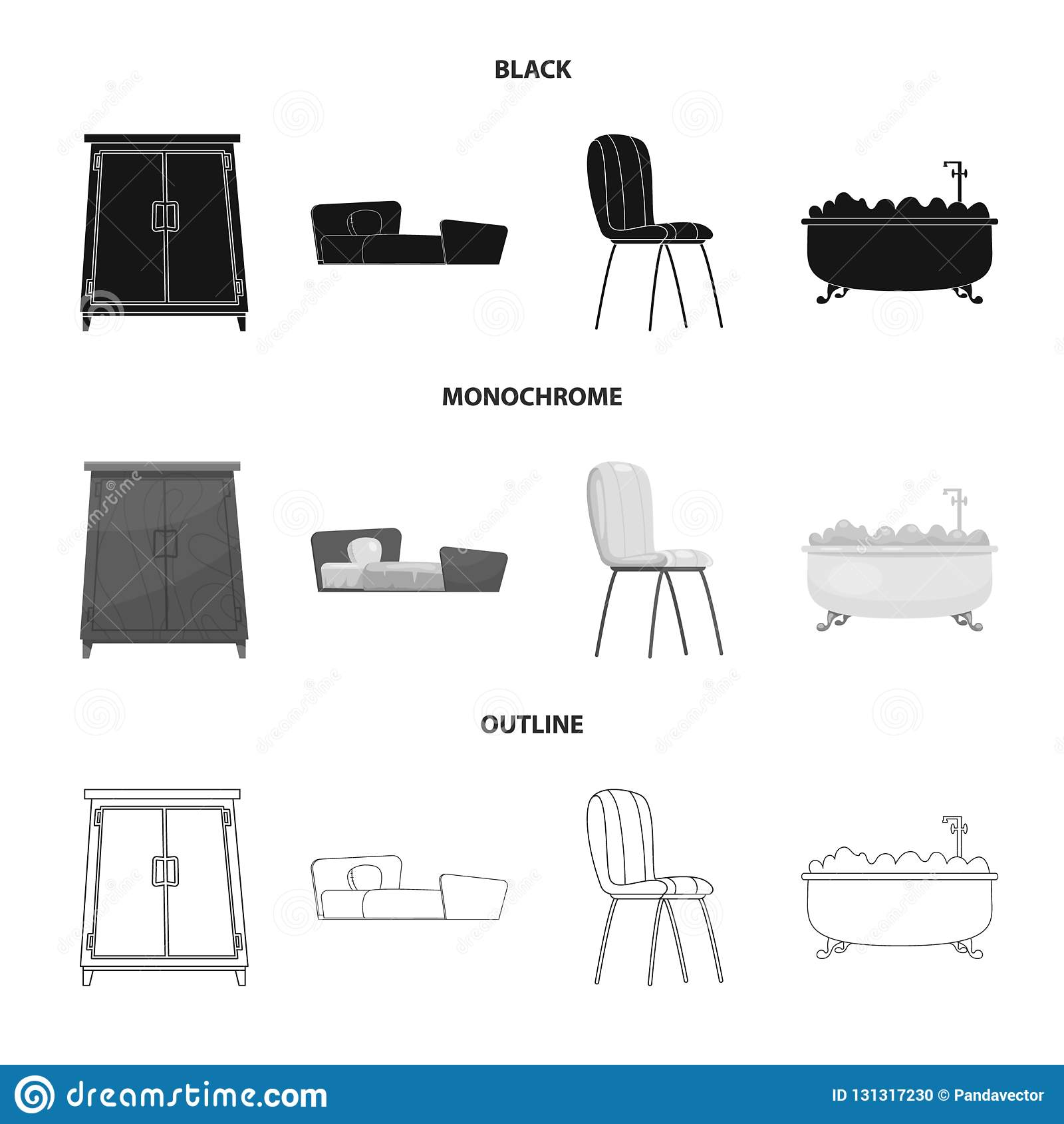 Objeto aislado del logotipo de los muebles y del apartamento Colección de muebles e icono casero del vector para la acción
