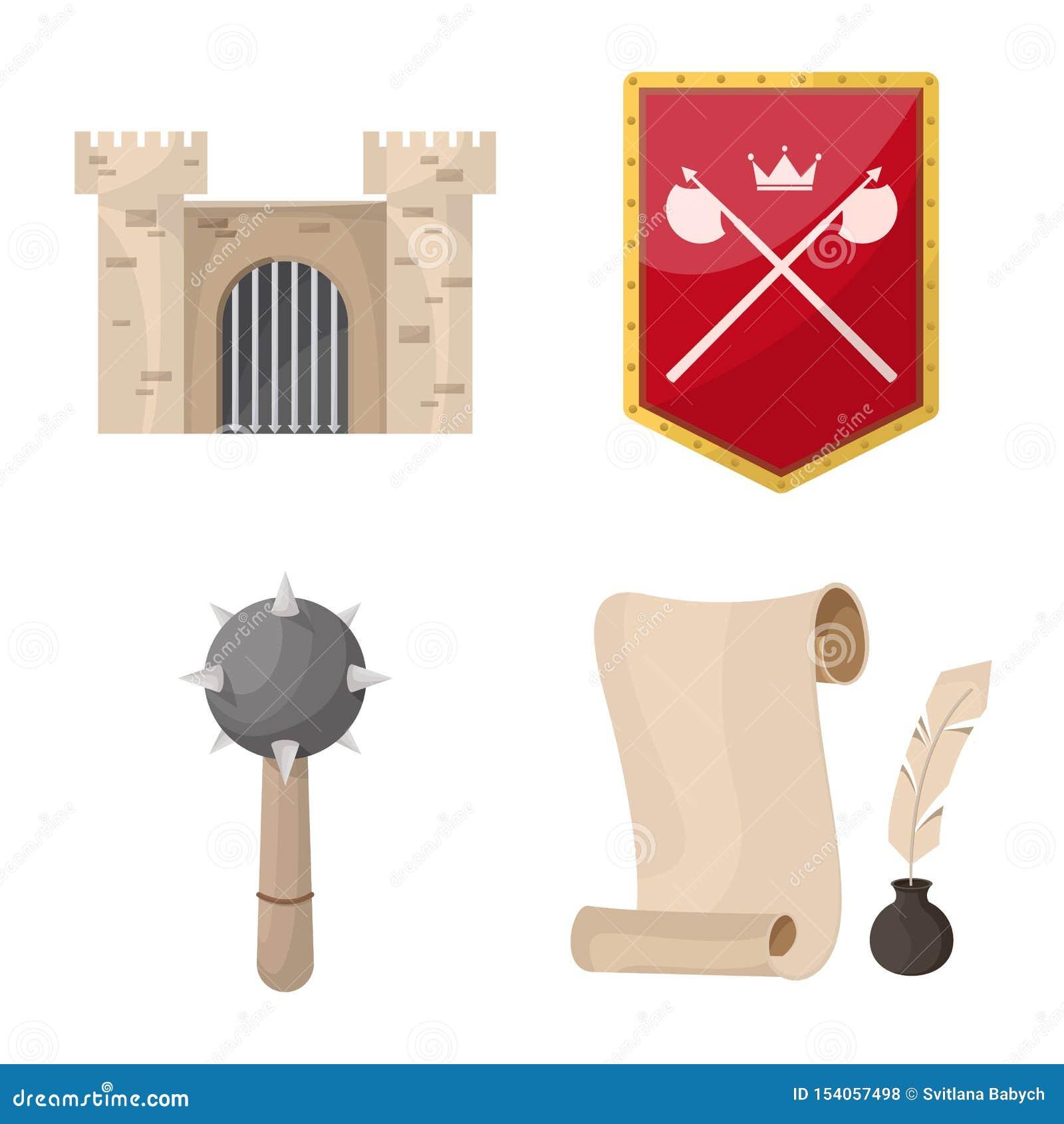 Objeto aislado del símbolo medieval y de la historia Fije del icono medieval y del torneo del vector para la acción