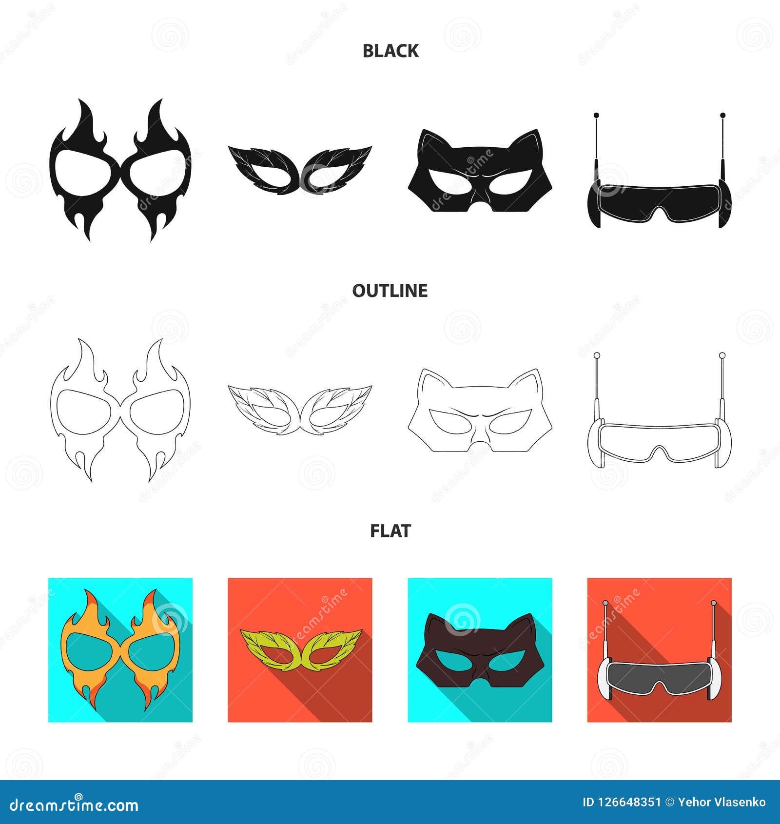 Objeto isolado do ícone do herói e da máscara Coleção do símbolo de ações do herói e do super-herói para a Web Ilustração Royalty Free