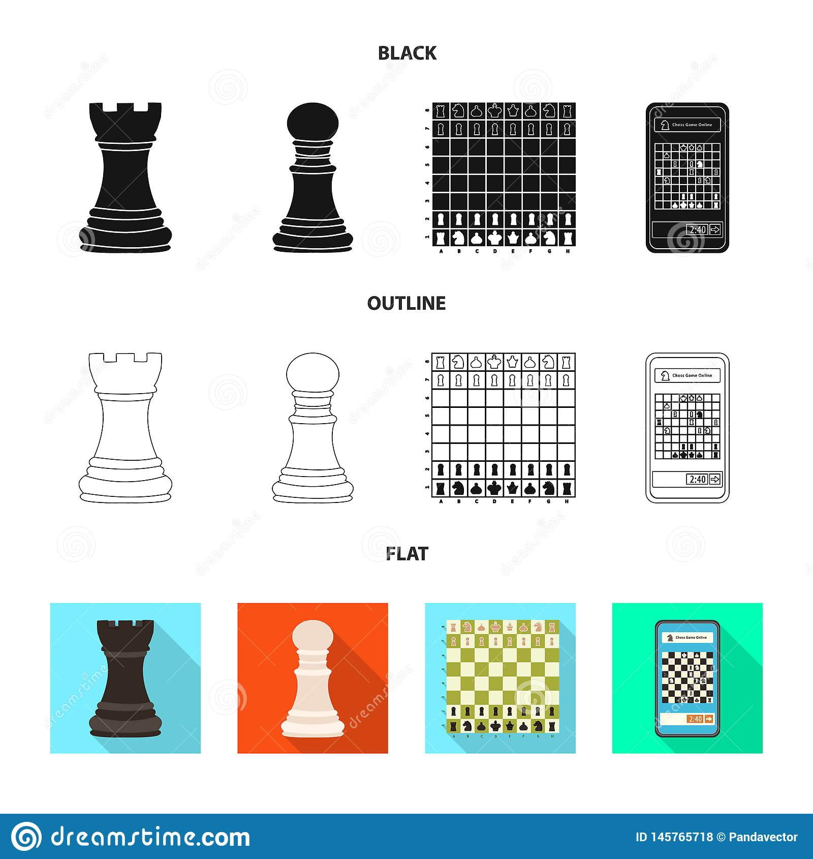 Objeto isolado do checkmate e do s?mbolo fino Cole??o do ?cone do vetor do checkmate e do alvo para o estoque