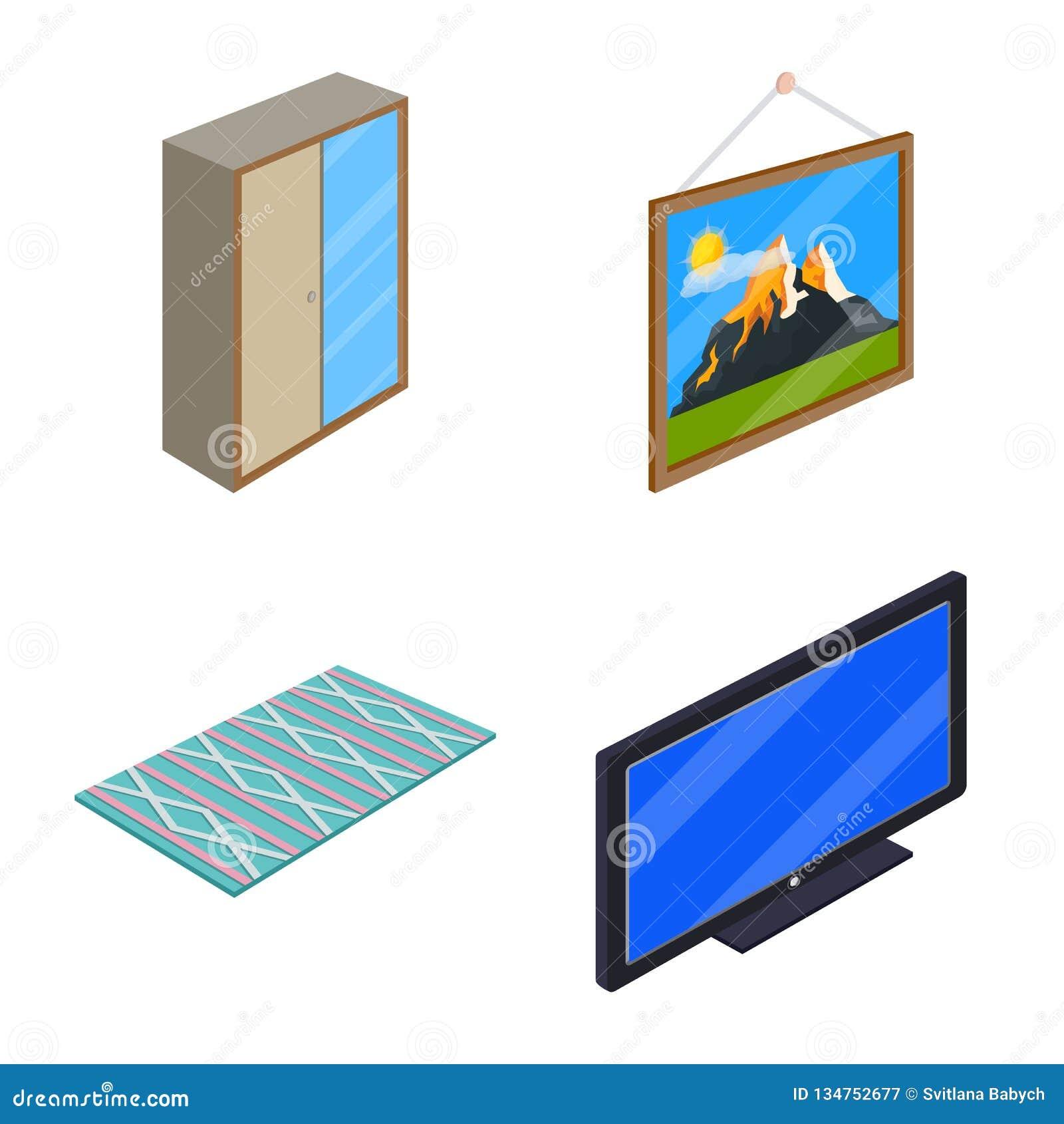 Objeto isolado do logotipo do quarto e da sala Coleção do ícone do vetor do quarto e da mobília para o estoque
