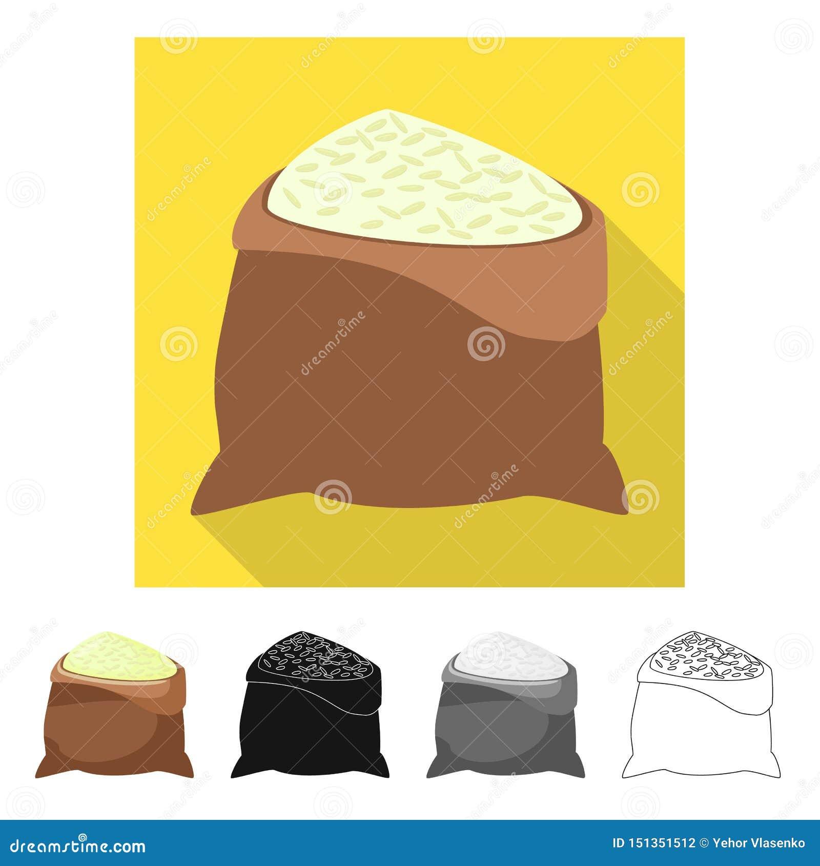 Objeto isolado do símbolo do saco e do arroz Ajuste do saco e do ícone por atacado do vetor para o estoque