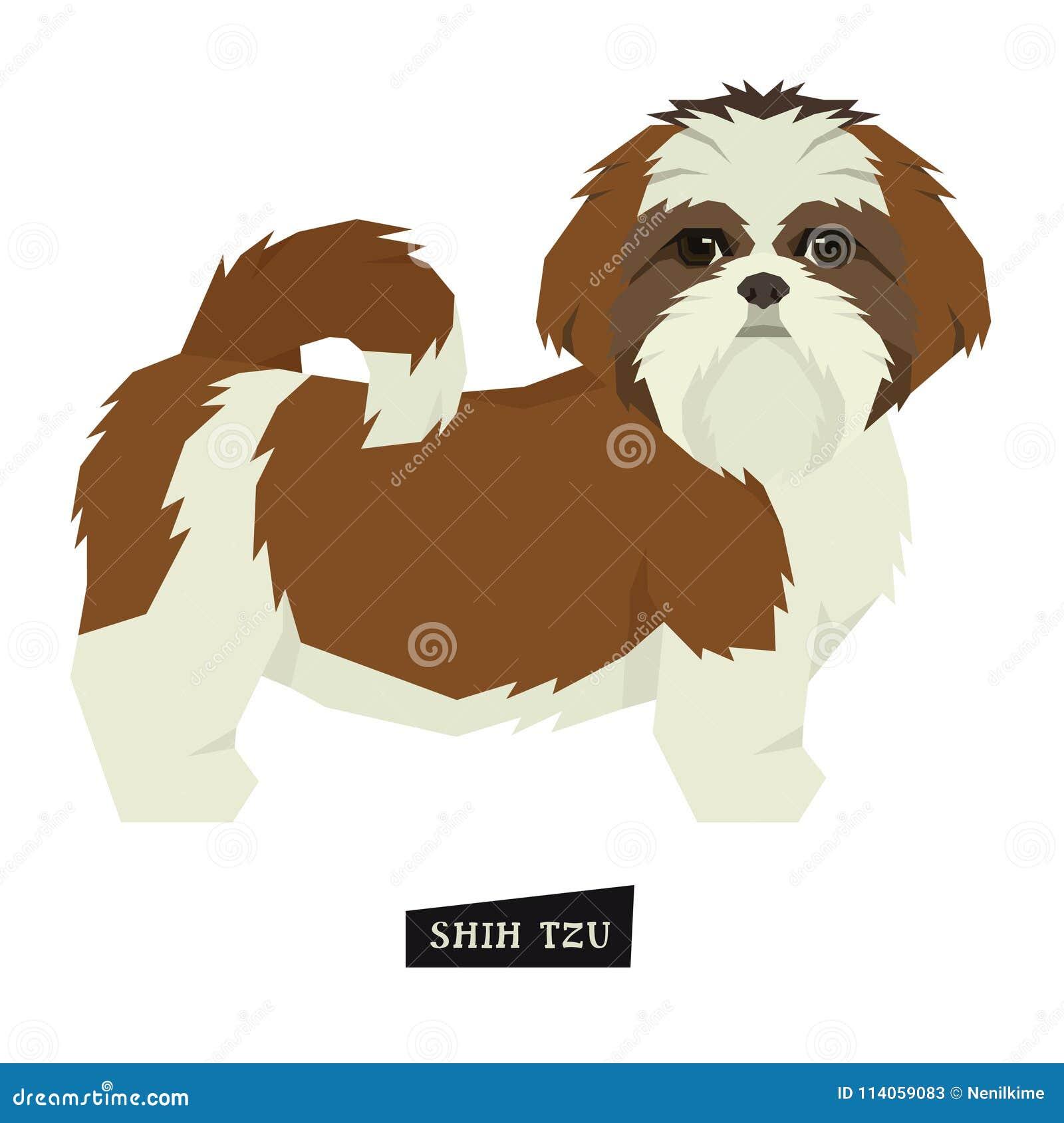 Objeto isolado estilo de Shih Tzu Geometric da coleção do cão