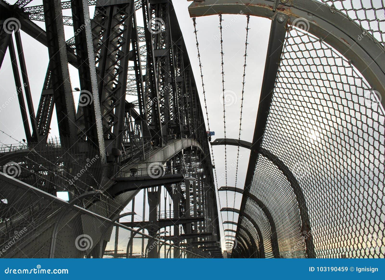 Objeto metálico detalhado do close-up em Sydney Harbour Bridge