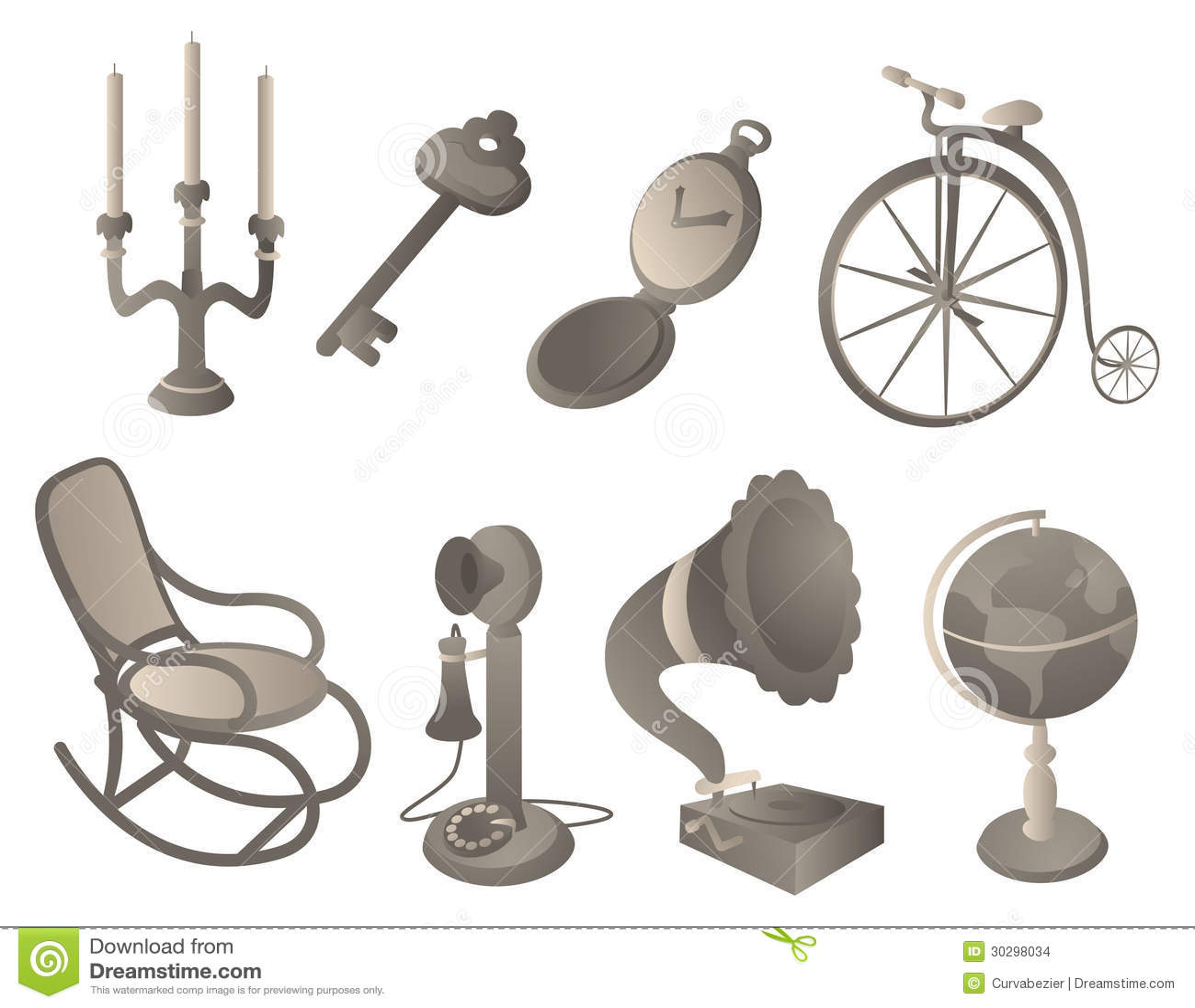 Objetos antiguos fijados imagenes de archivo imagen for Compra de objetos antiguos