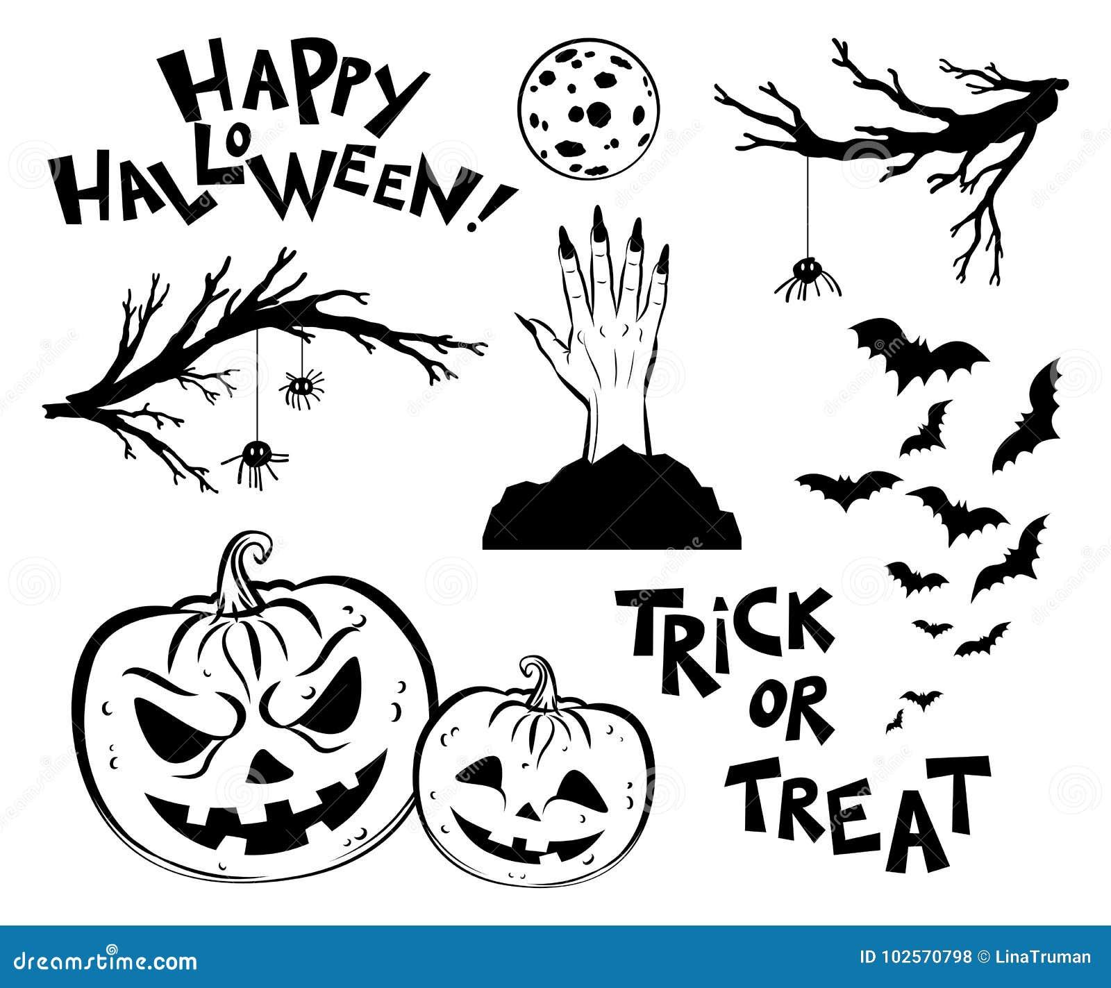 Objetos De Dia Das Bruxas Galhos Assustadores Da árvore Bastões E